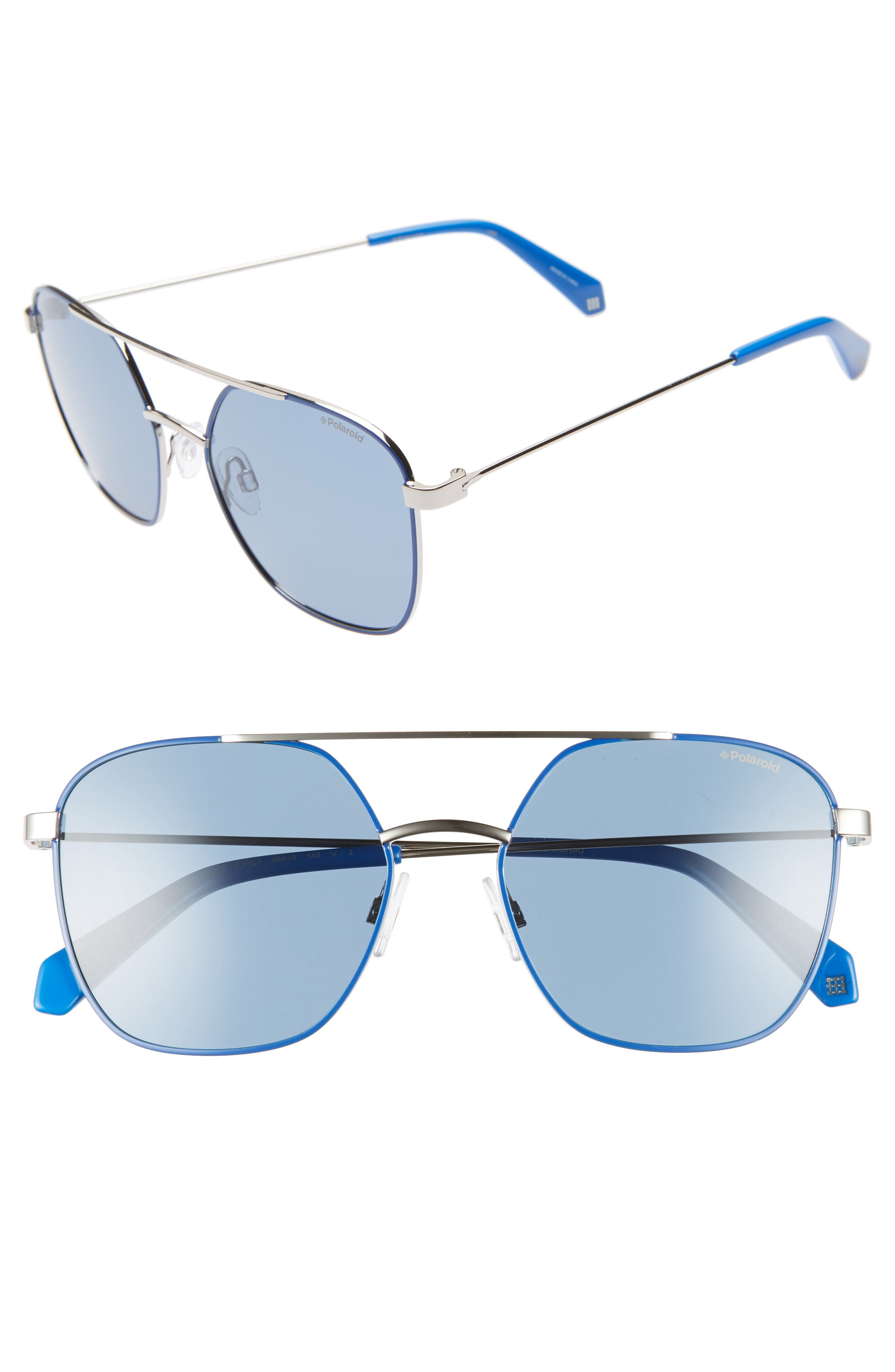 Polaroid 5m Polarized Square Aviator Sunglasses - Blue/ Silver