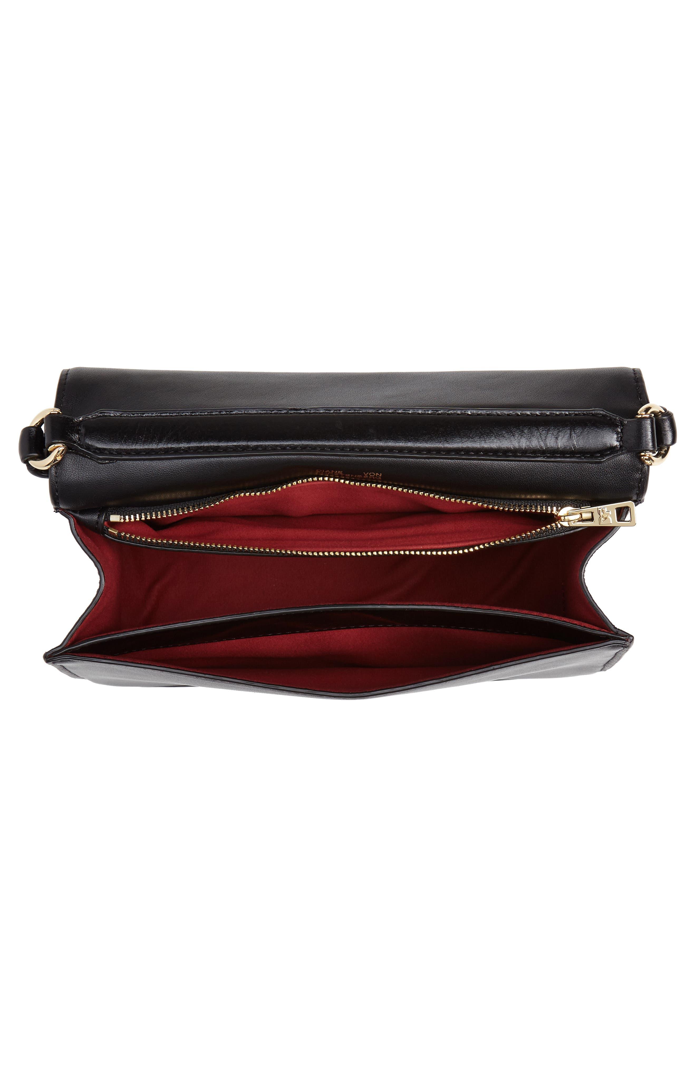 DVF Bonne Soirée Leather Top Handle Bag,                             Alternate thumbnail 4, color,                             001