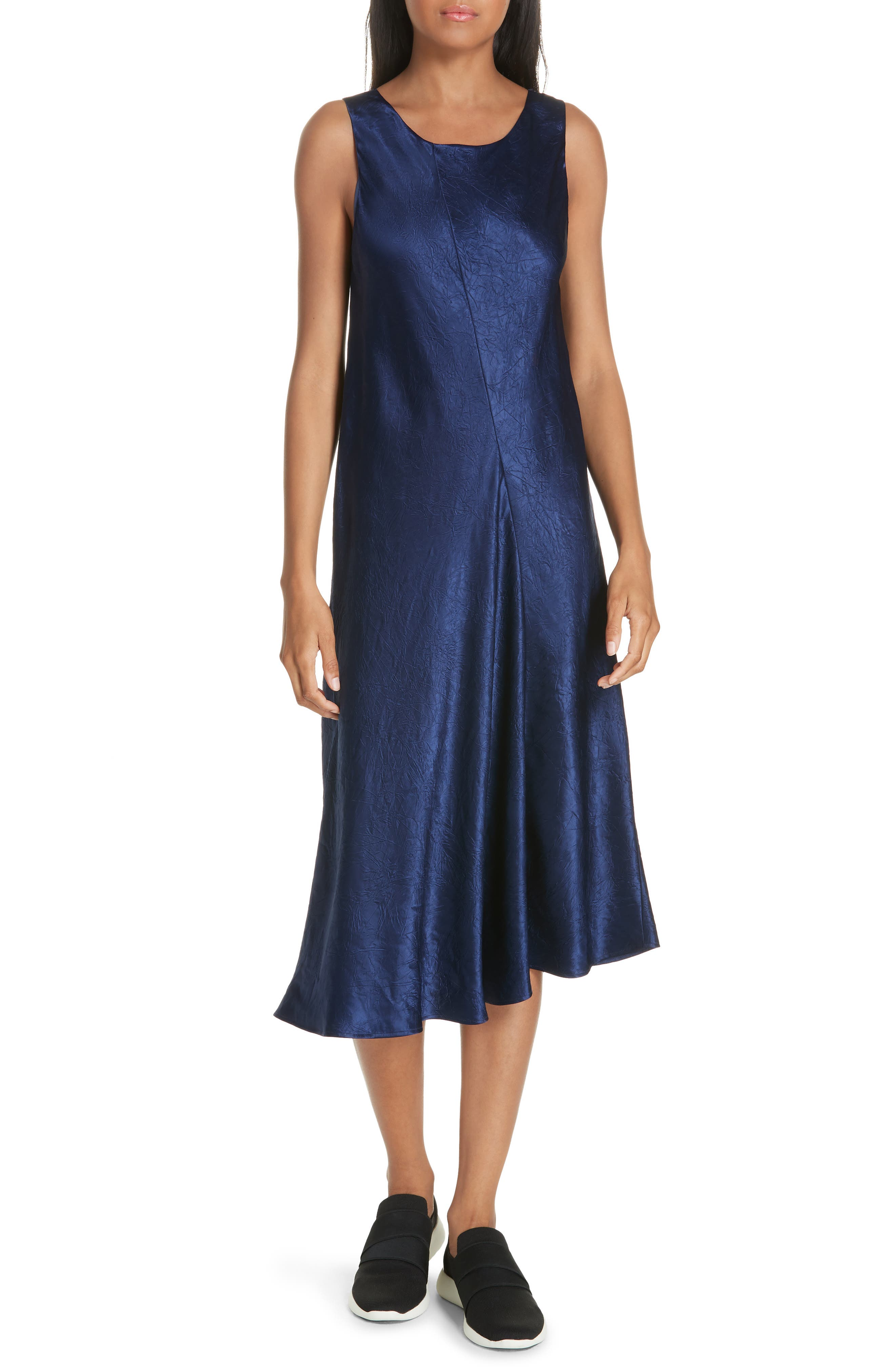 Vince Asymmetrical Crinkled Satin Dress, Blue