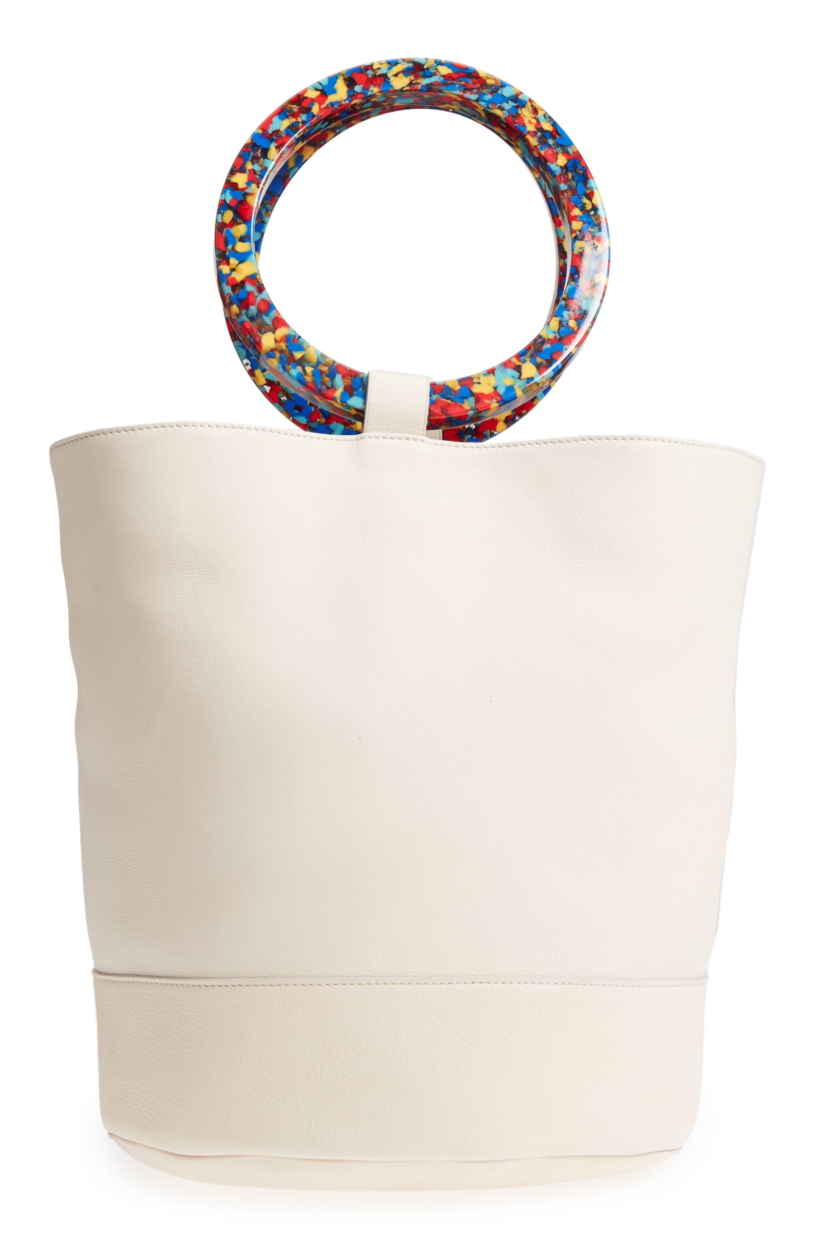 Confetti Handle Bonsai Leather Bucket Bag,                             Main thumbnail 1, color,                             900