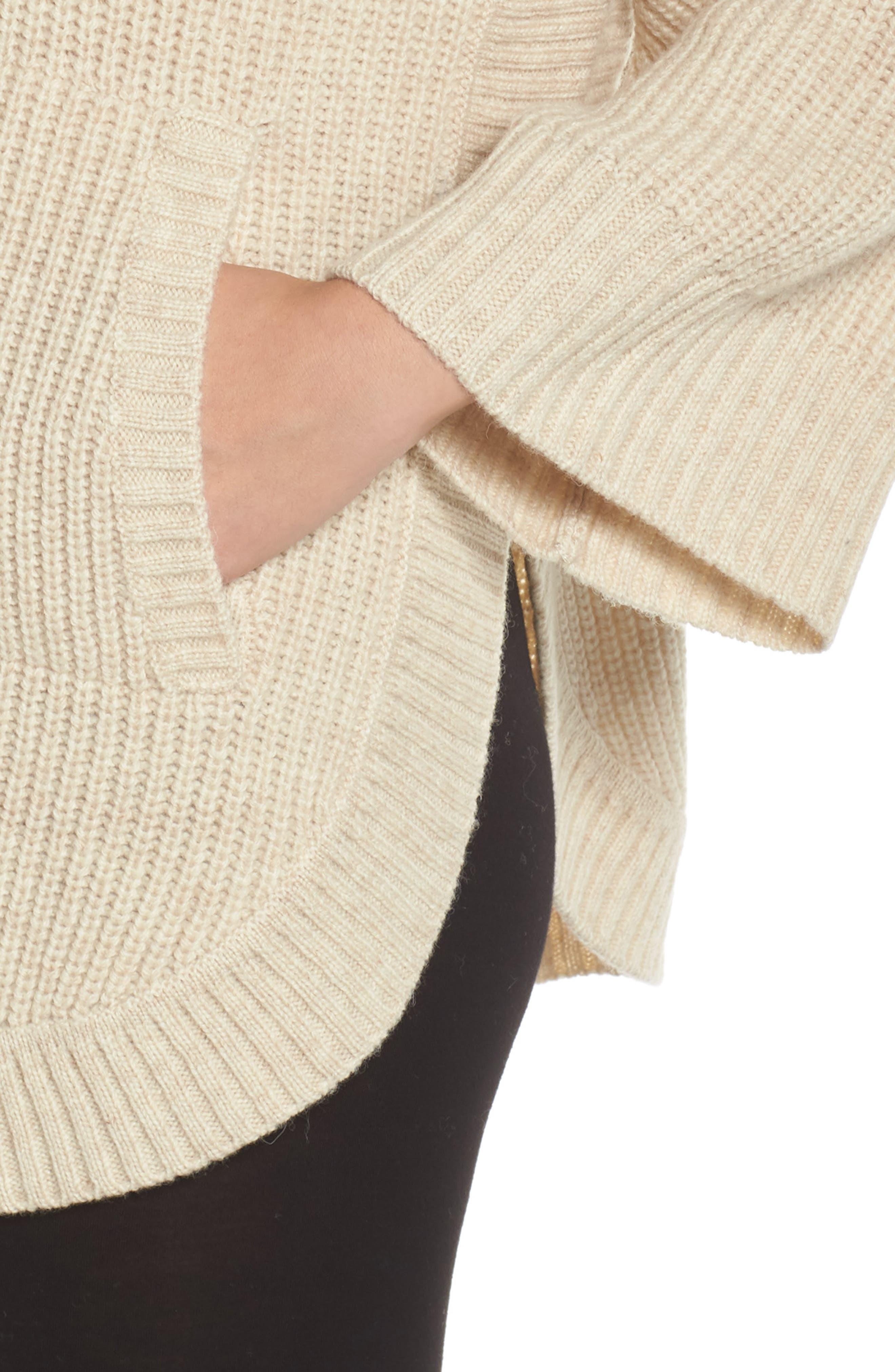 Raelynn Sweater Poncho,                             Alternate thumbnail 4, color,                             CREAM HEATHER