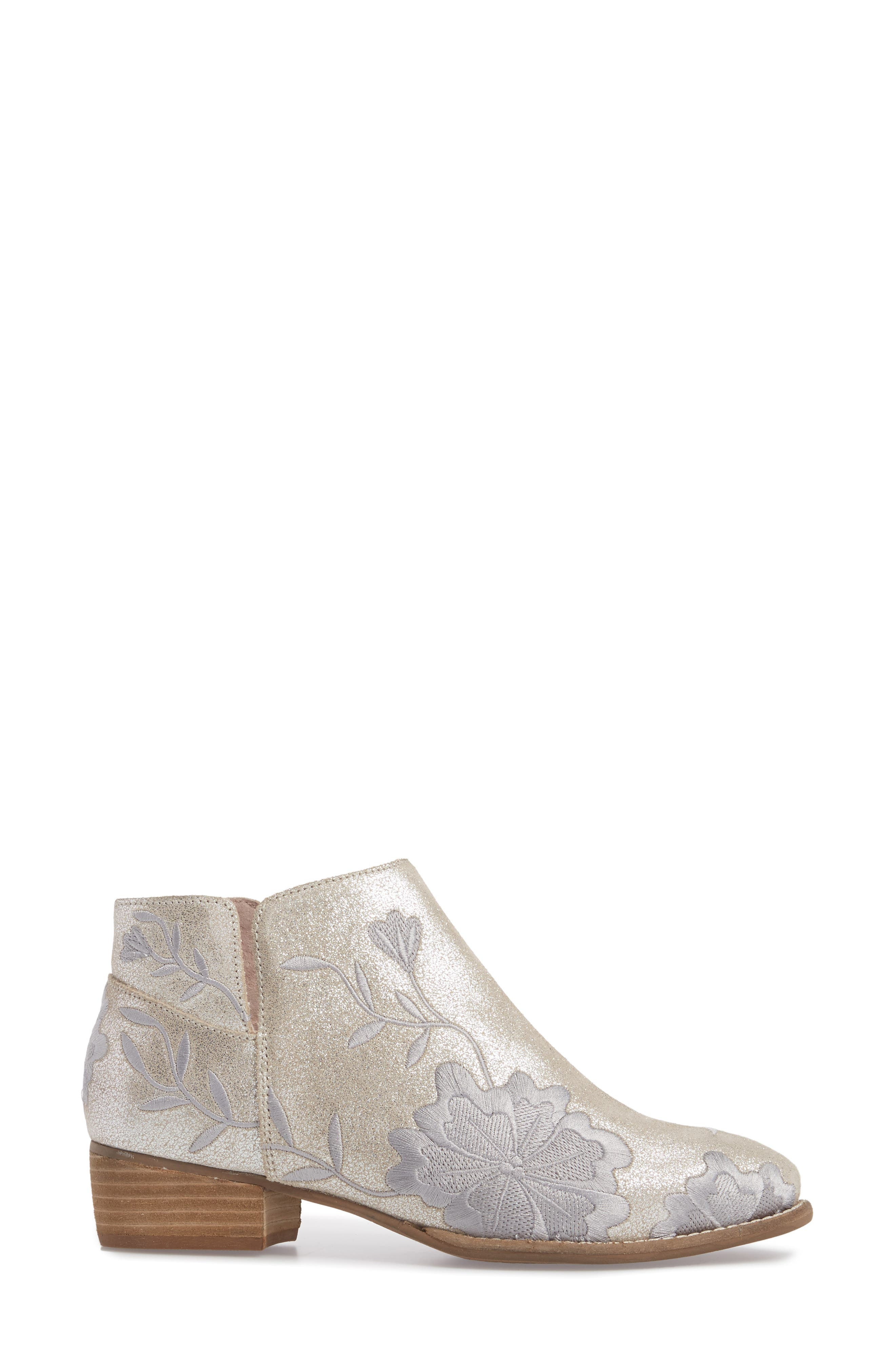 Lantern Embroidered Short Bootie,                             Alternate thumbnail 3, color,                             SILVER SUEDE