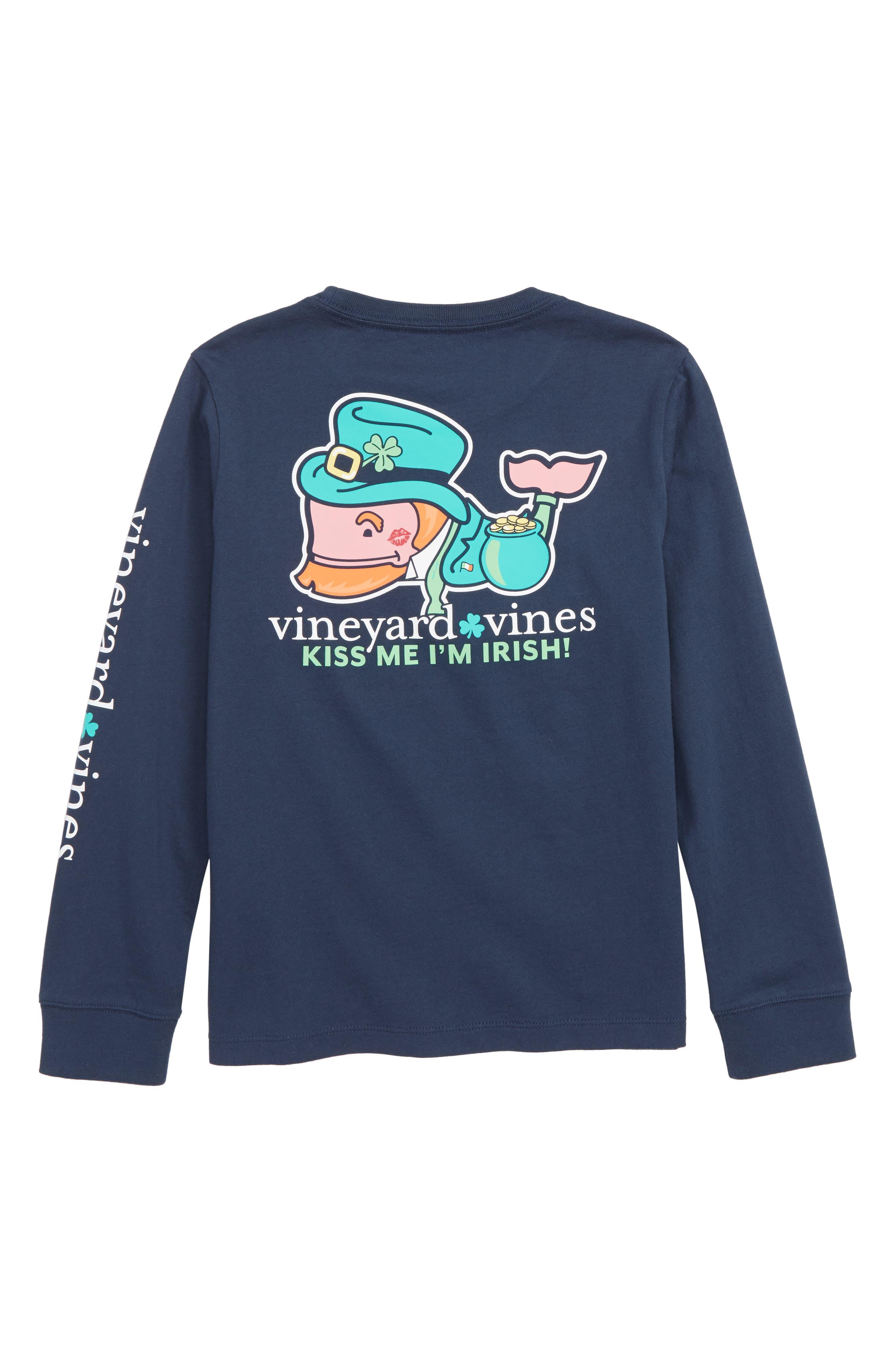 VINEYARD VINES,                             Kiss Me I'm Irish Pocket T-Shirt,                             Alternate thumbnail 2, color,                             BLUE BLAZER