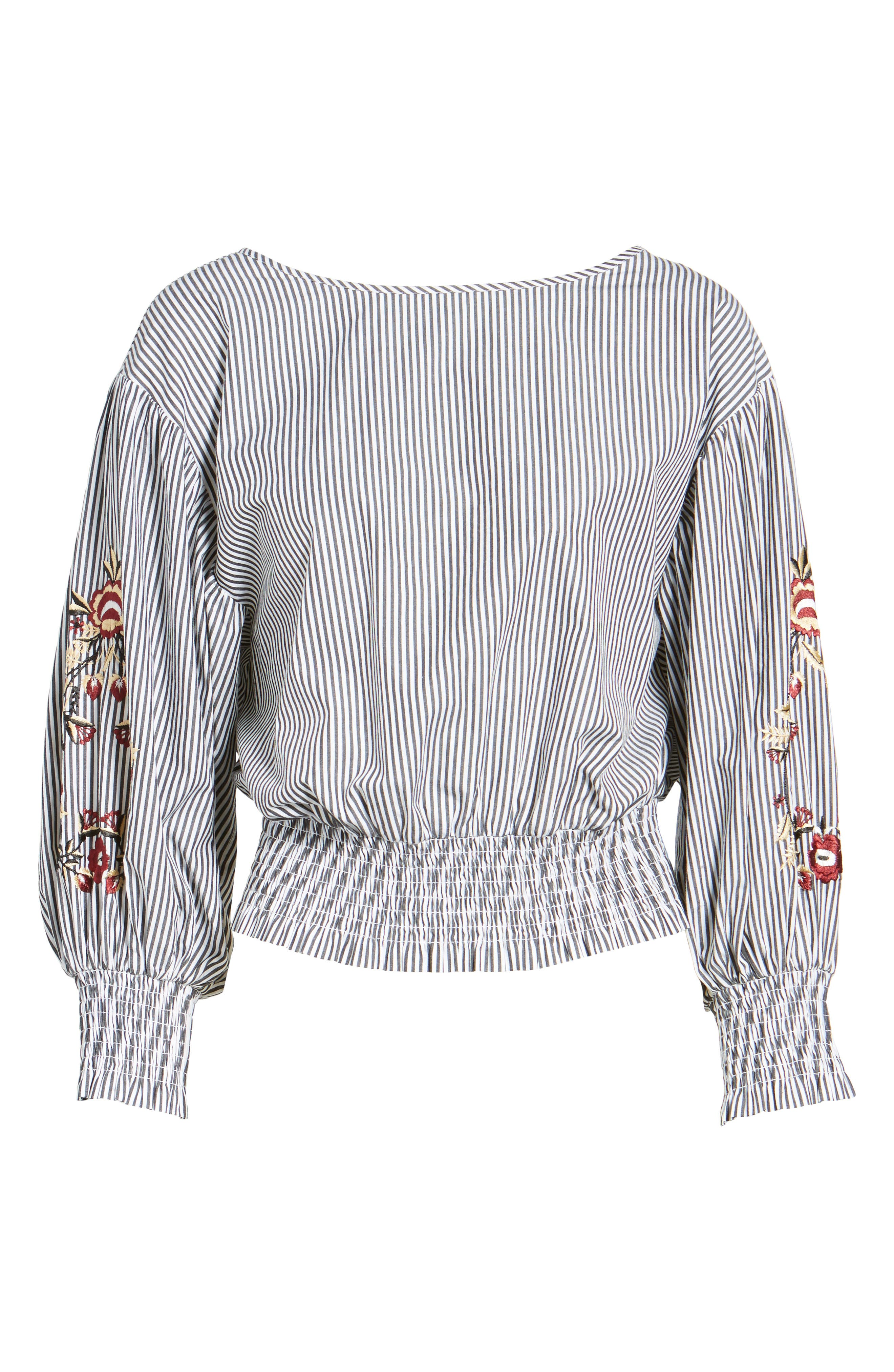 Embroidered Puff Sleeve Crop Top,                             Alternate thumbnail 6, color,                             001