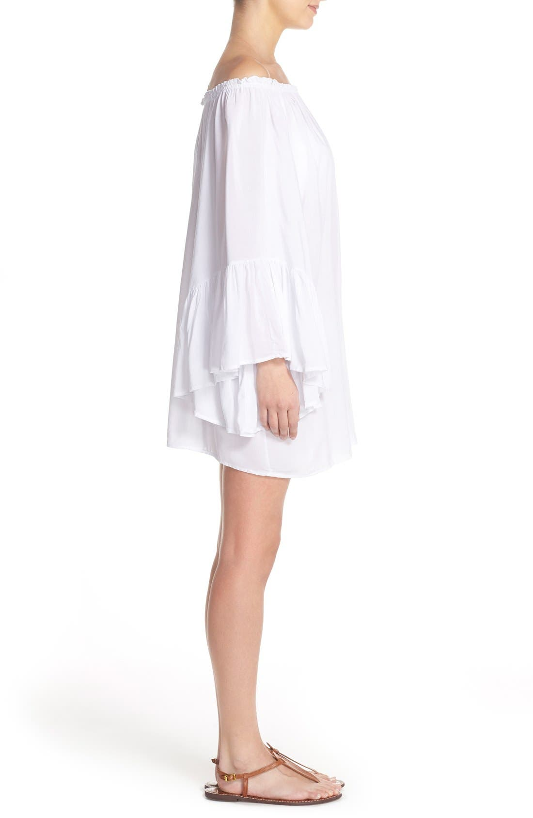 Bell Sleeve Cover-Up Tunic Dress,                             Alternate thumbnail 7, color,