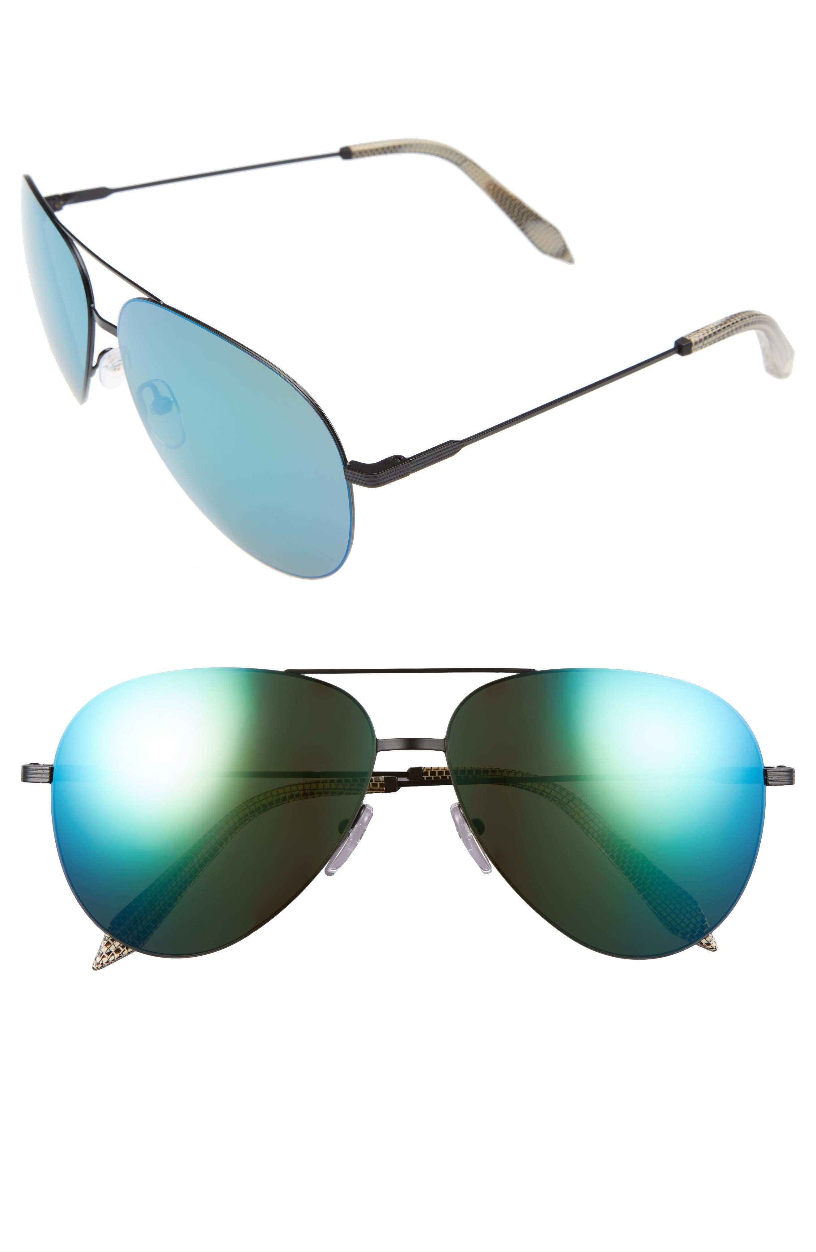 Classic Victoria Feather 62mm Aviator Sunglasses,                             Main thumbnail 1, color,                             BLACK/ TURQUOISE MIRROR