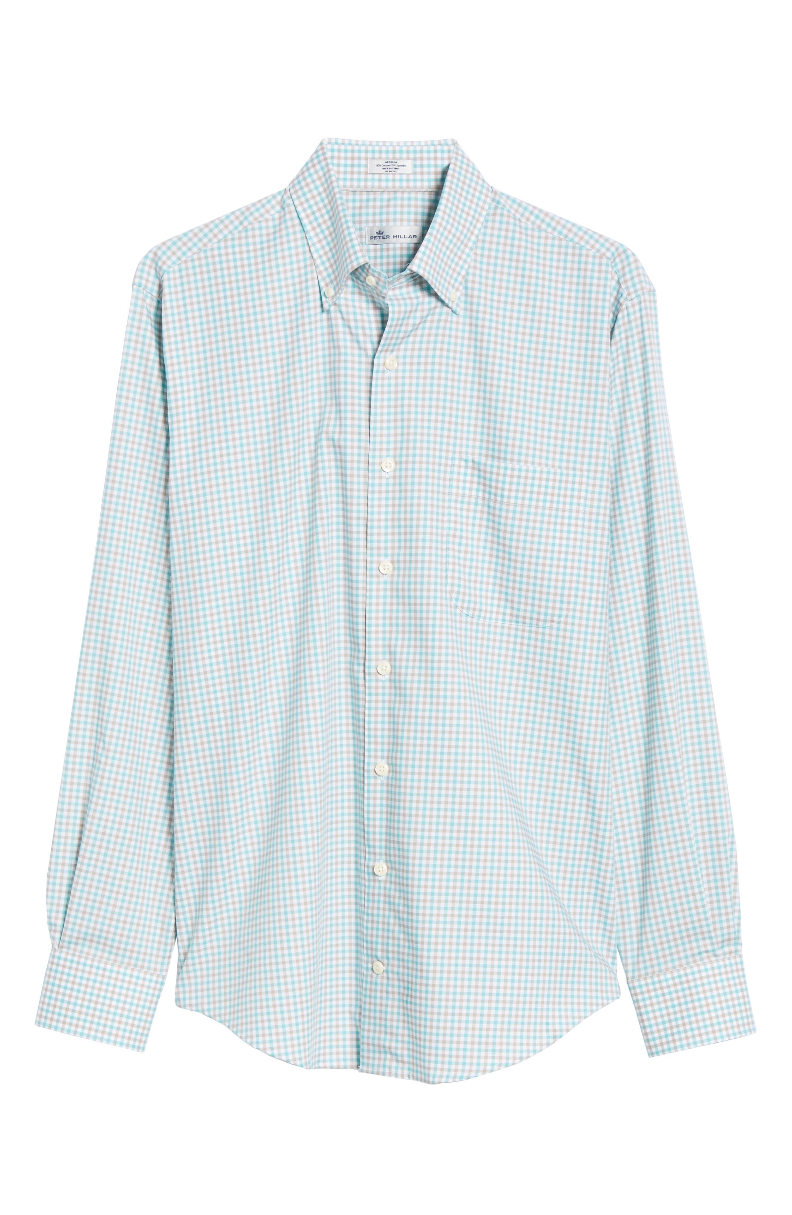 Crown Ease Marketplace Regular Fit Check Sport Shirt,                             Alternate thumbnail 5, color,                             GREEN
