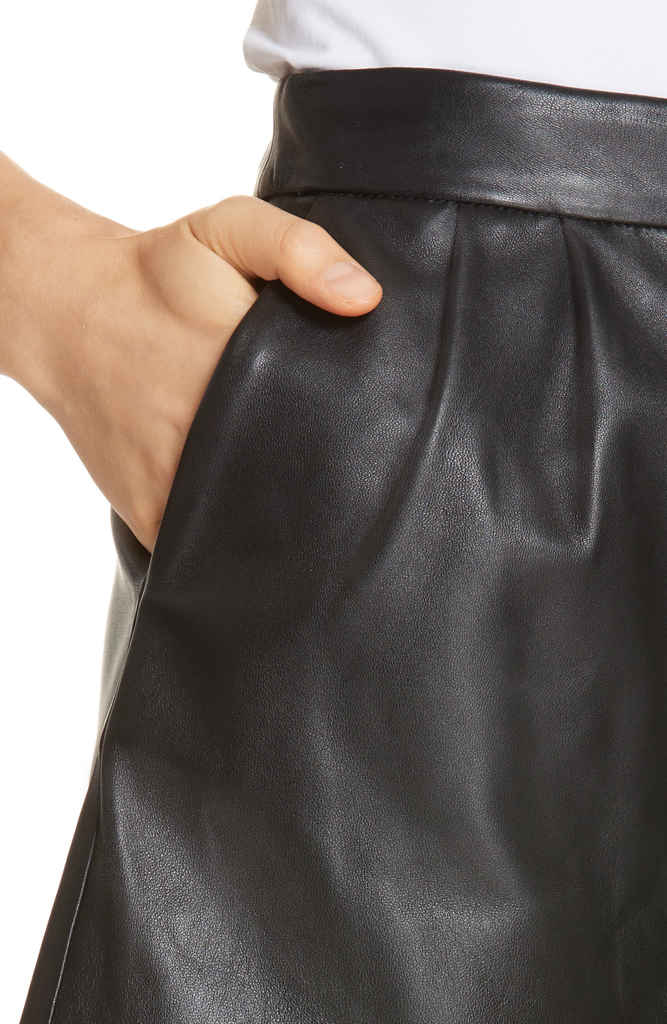 Pleated Leather Shorts,                             Alternate thumbnail 4, color,                             NOIR