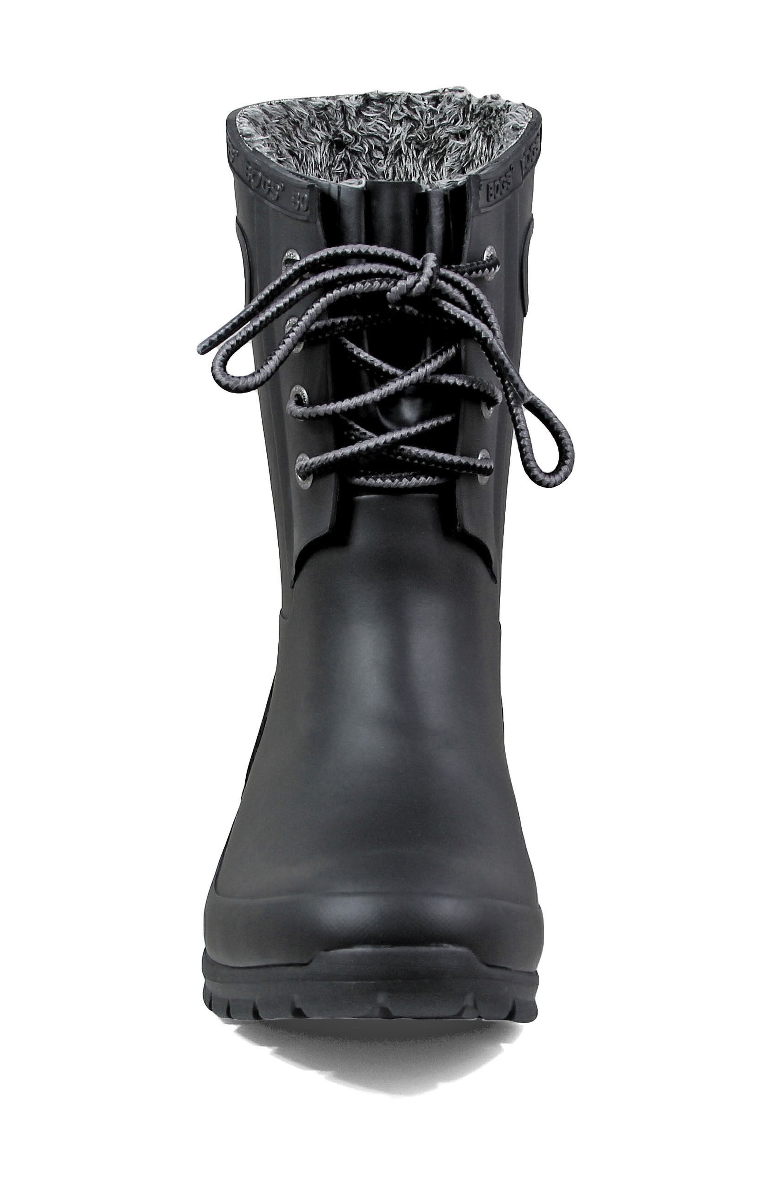 Amanda Plush Waterproof Rain Boot,                             Alternate thumbnail 4, color,                             BLACK