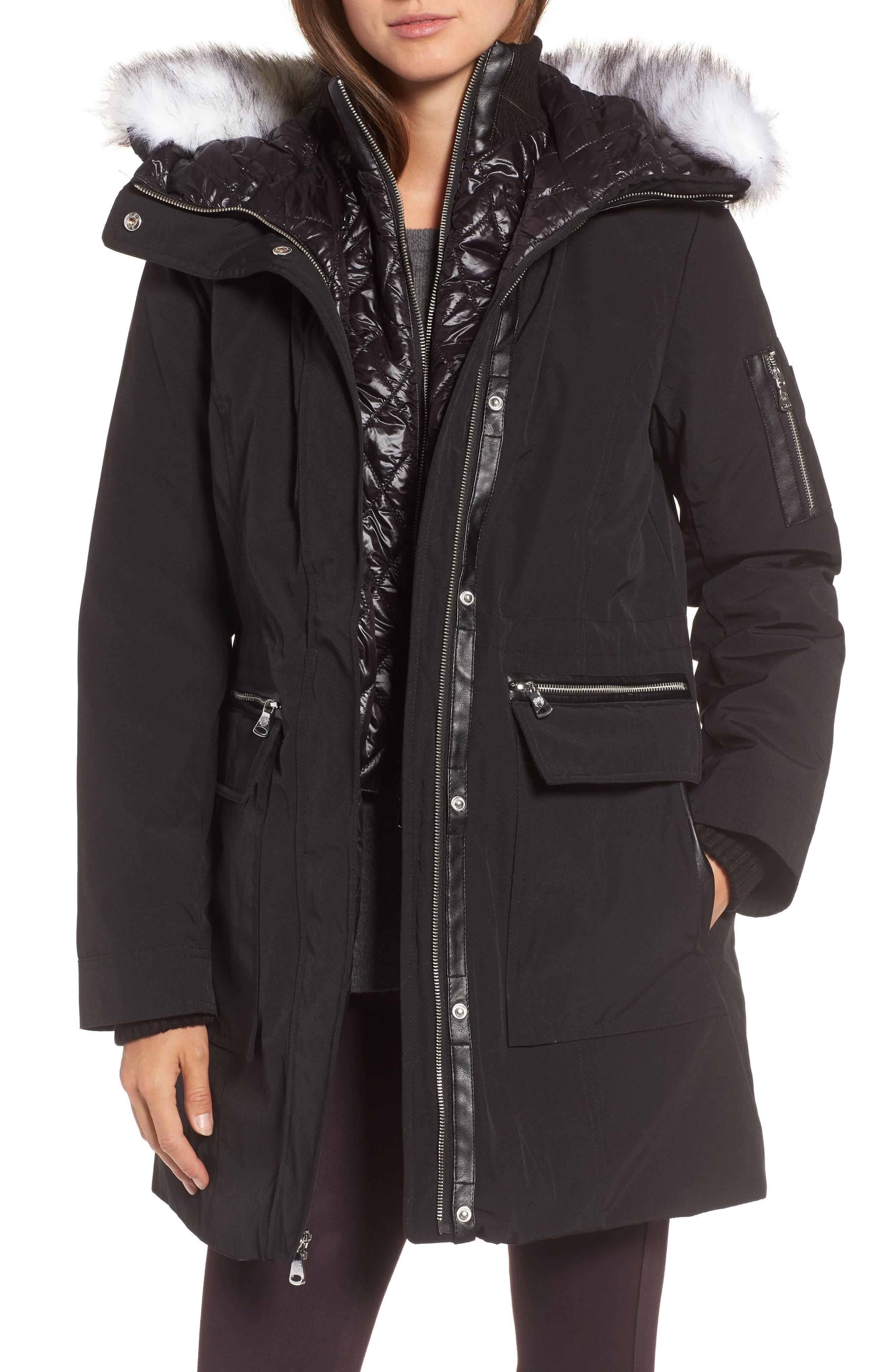 Bib Insert Down & Feather Fill Coat,                         Main,                         color, 001