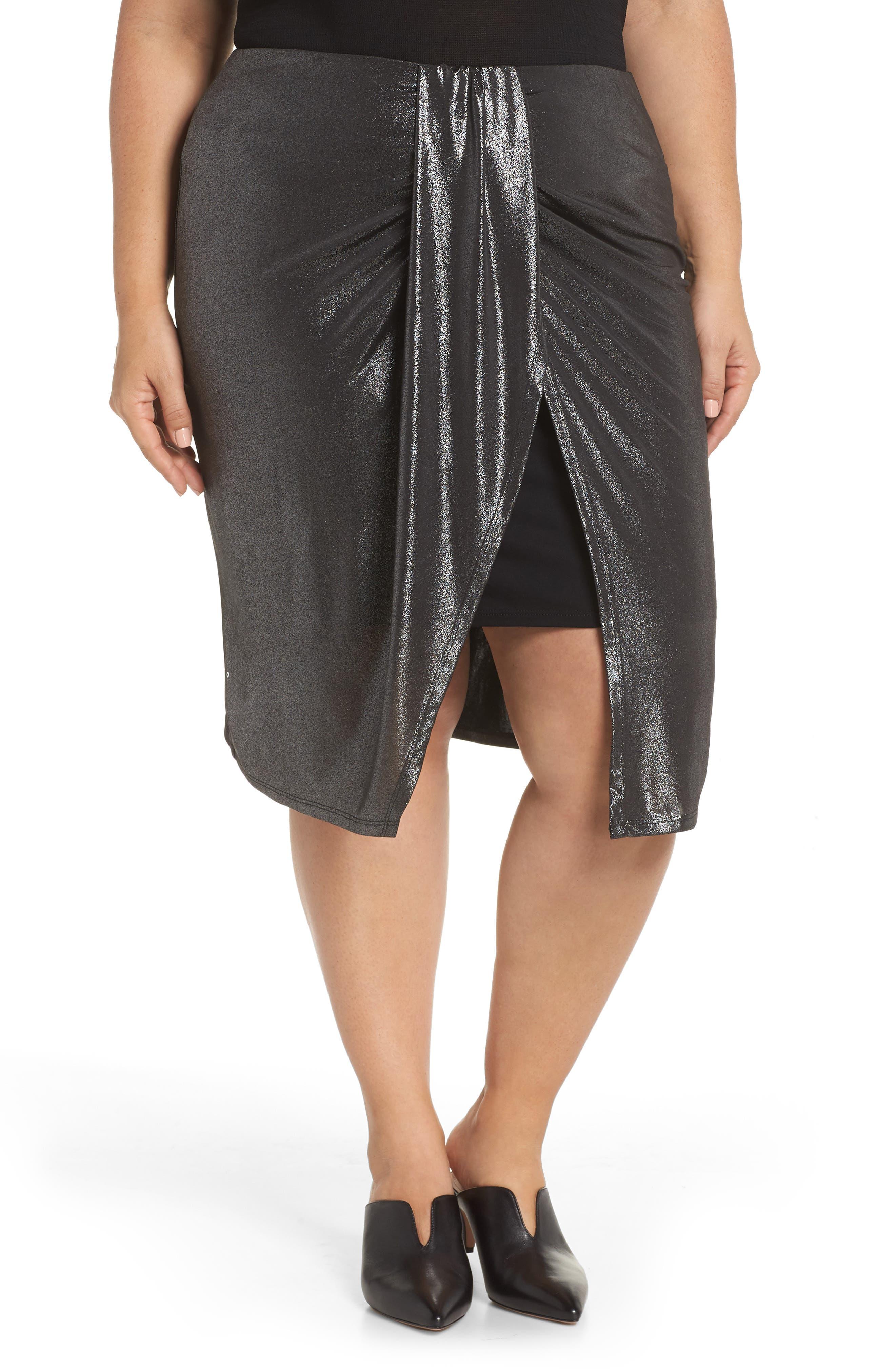Plus Size Leith Knot Front Metallic Midi Skirt, Metallic