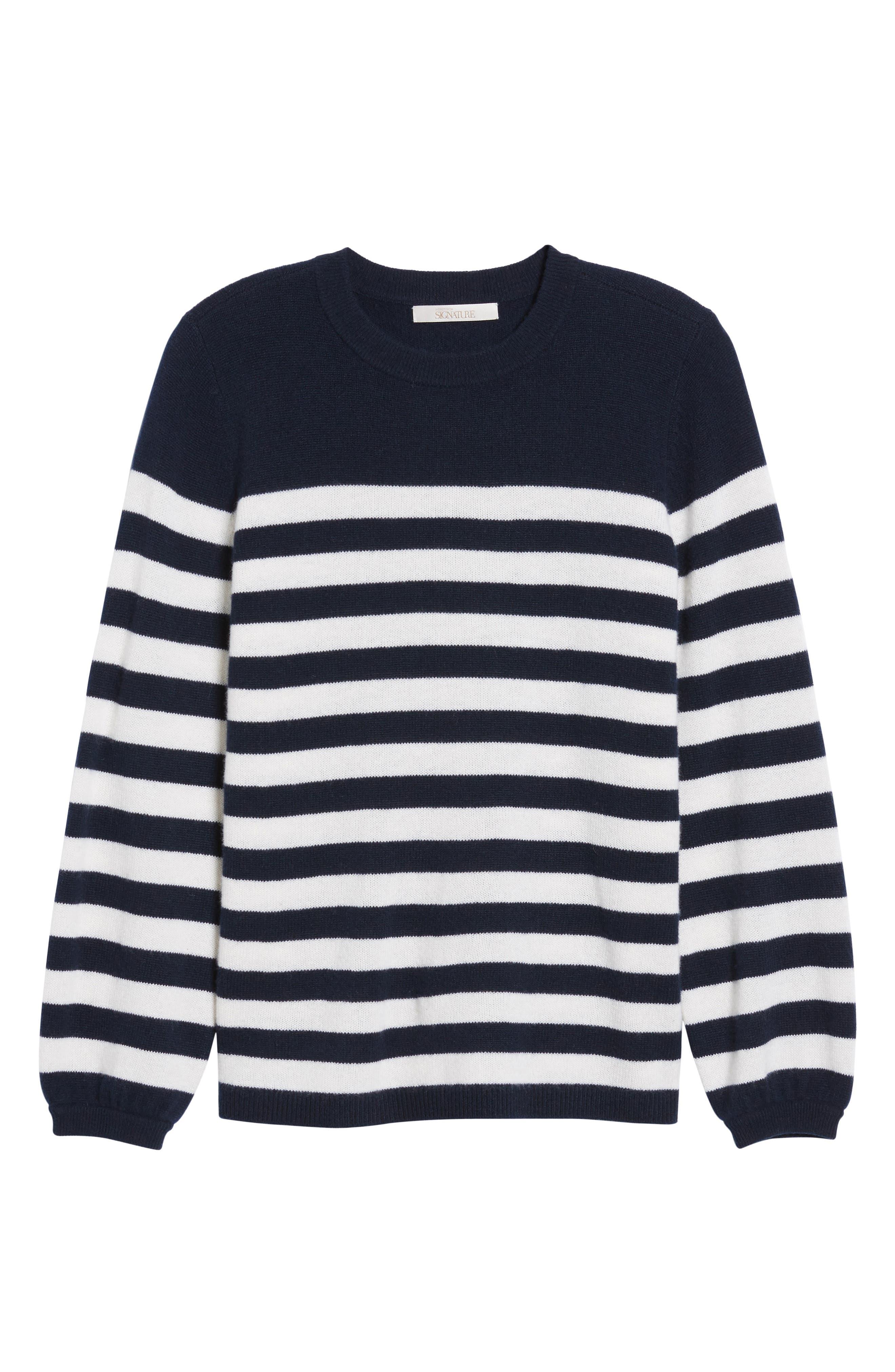 Stripe Cashmere Sweater,                             Alternate thumbnail 6, color,                             410