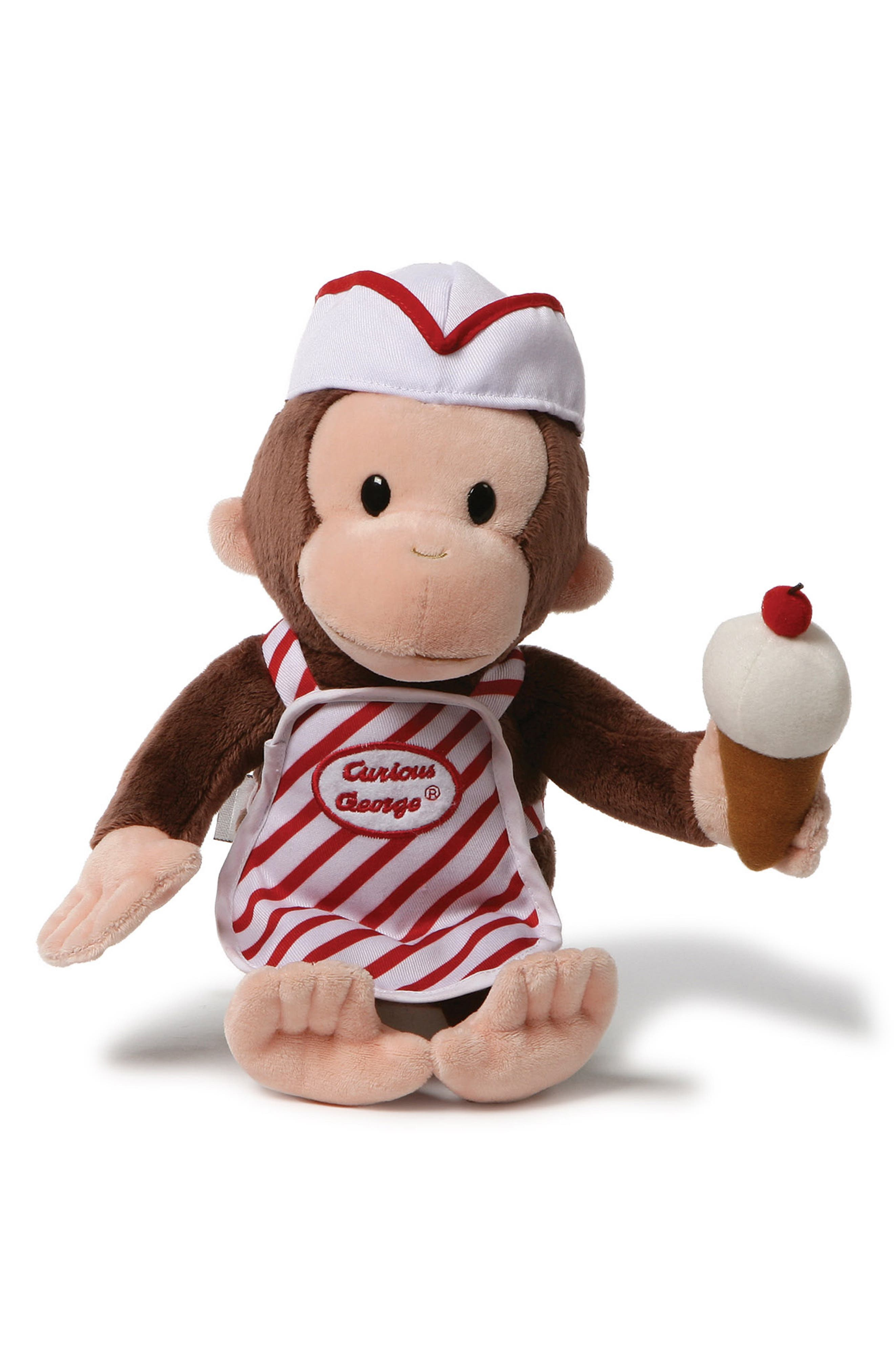 GUND Curious George<sup>®</sup> Ice Cream Stuffed Animal, Main, color, BROWN