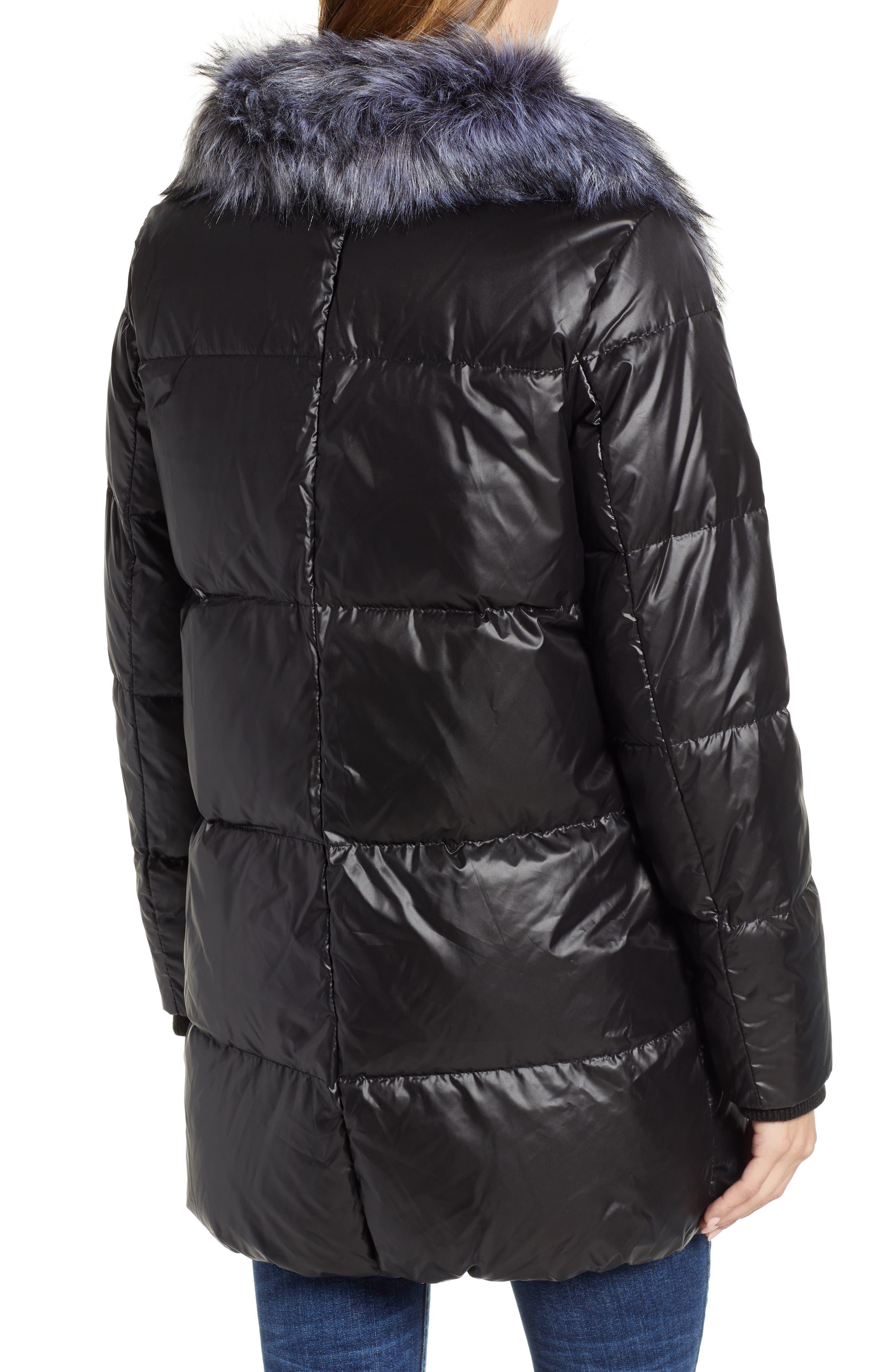 SAM EDELMAN,                             Cire Faux Fur Trim Down Quilted Coat,                             Alternate thumbnail 2, color,                             BLACK