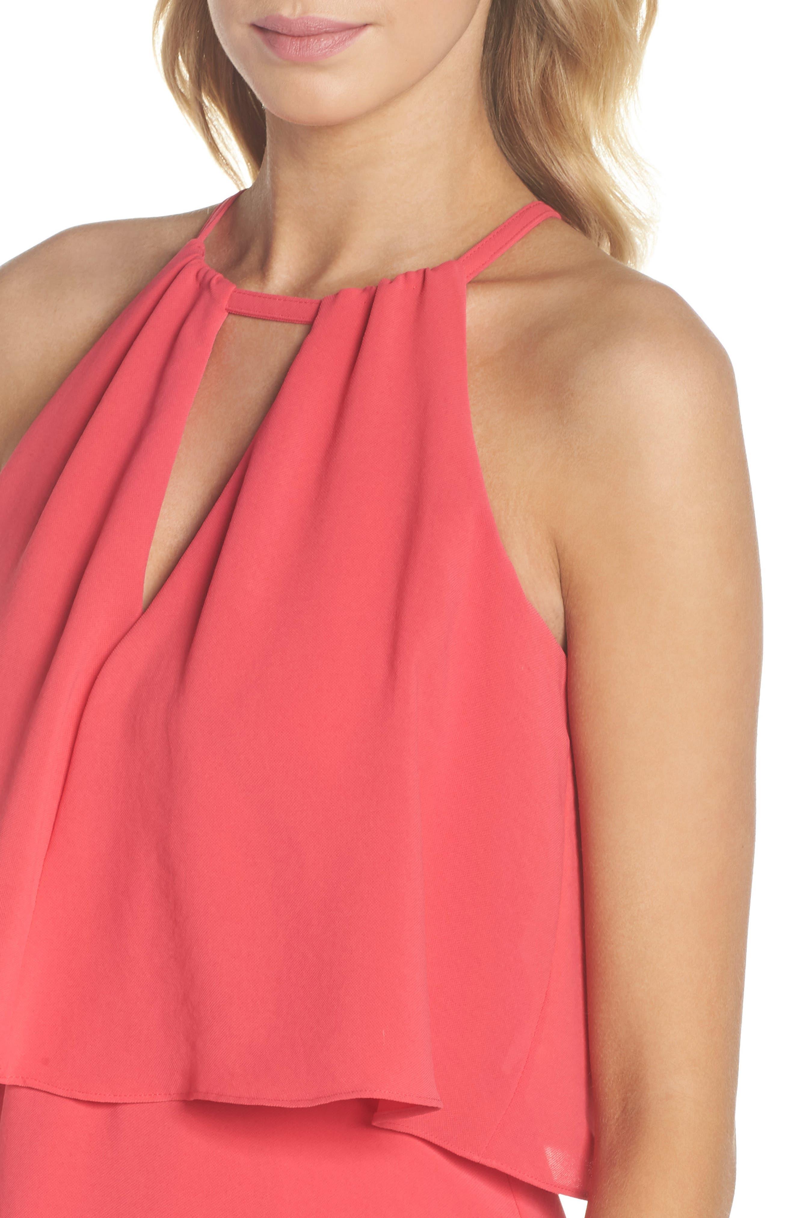 Crepe Popover High/Low Dress,                             Alternate thumbnail 4, color,                             654