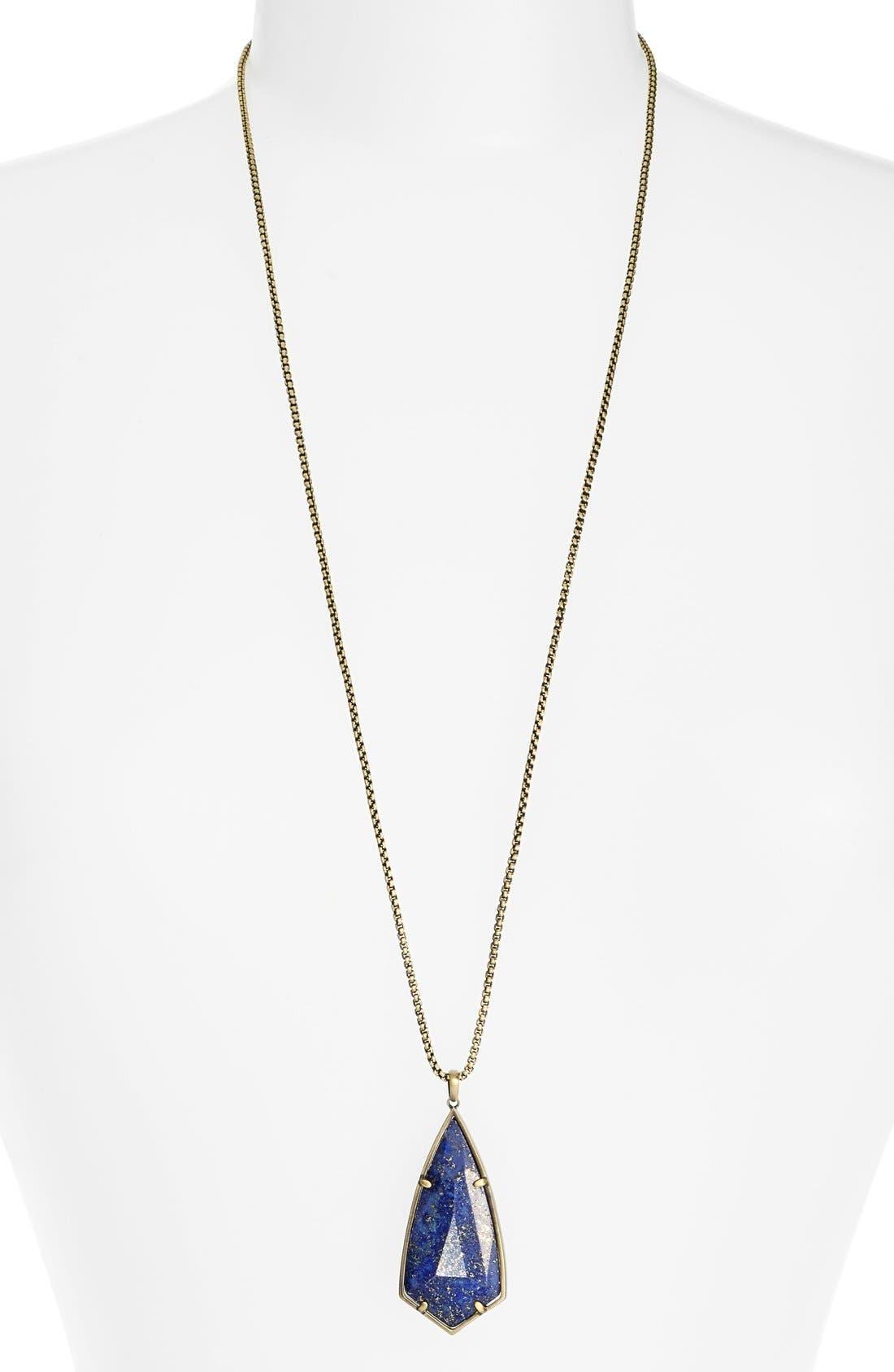 'Carole' Long Semiprecious Stone Pendant Necklace,                             Main thumbnail 7, color,