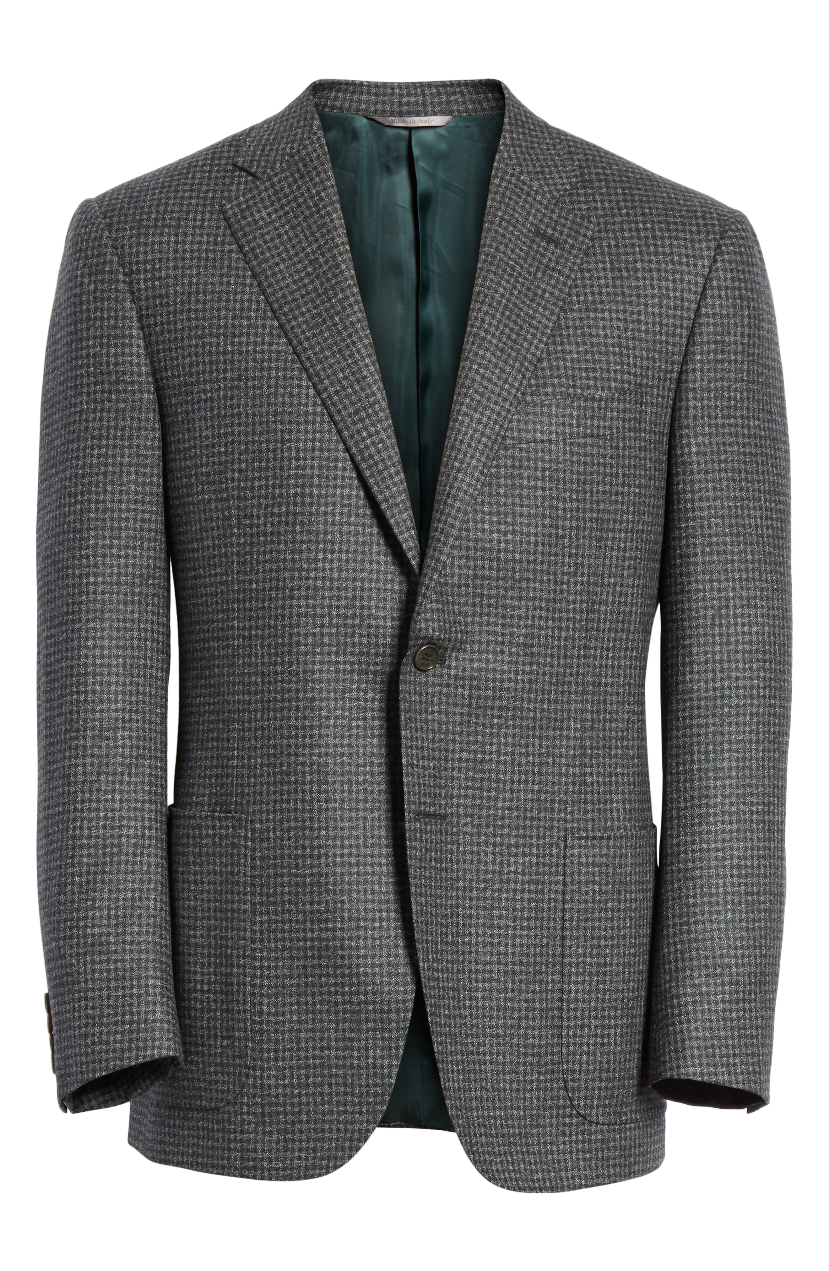 Classic Fit Check Wool Sport Coat,                             Alternate thumbnail 5, color,                             DARK GREEN