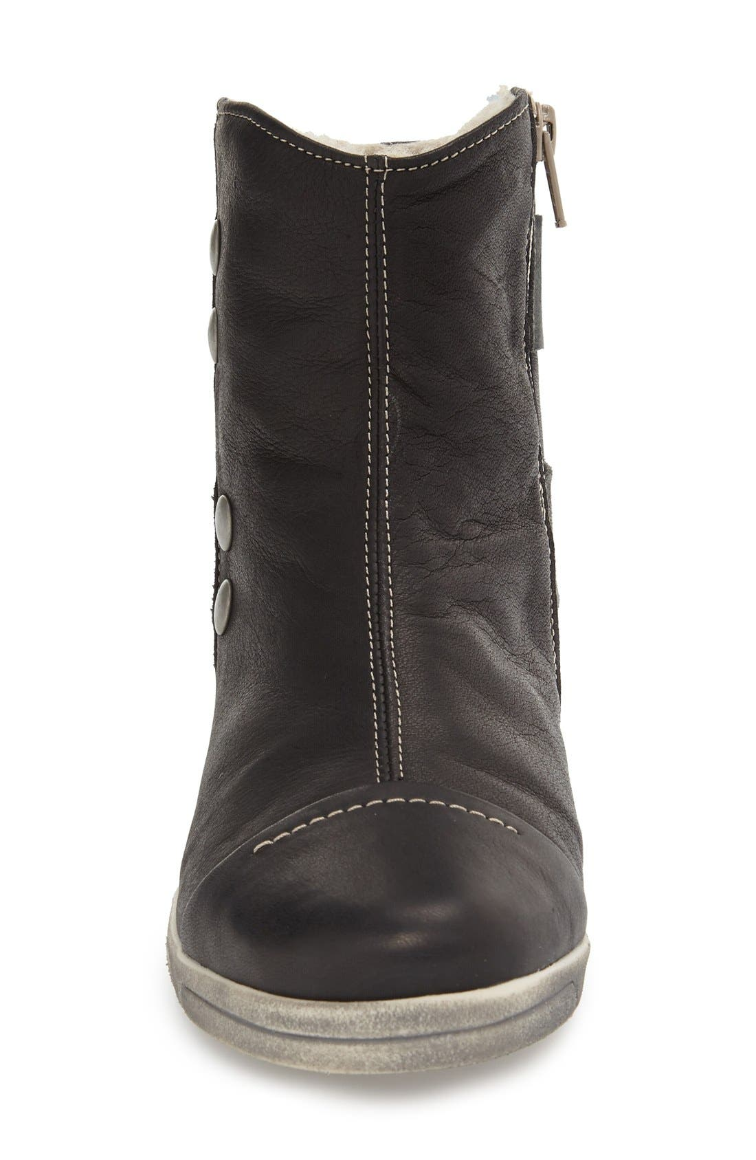 Aline Fantasy Shearling Lined Bootie,                             Alternate thumbnail 3, color,                             BLACK LEATHER