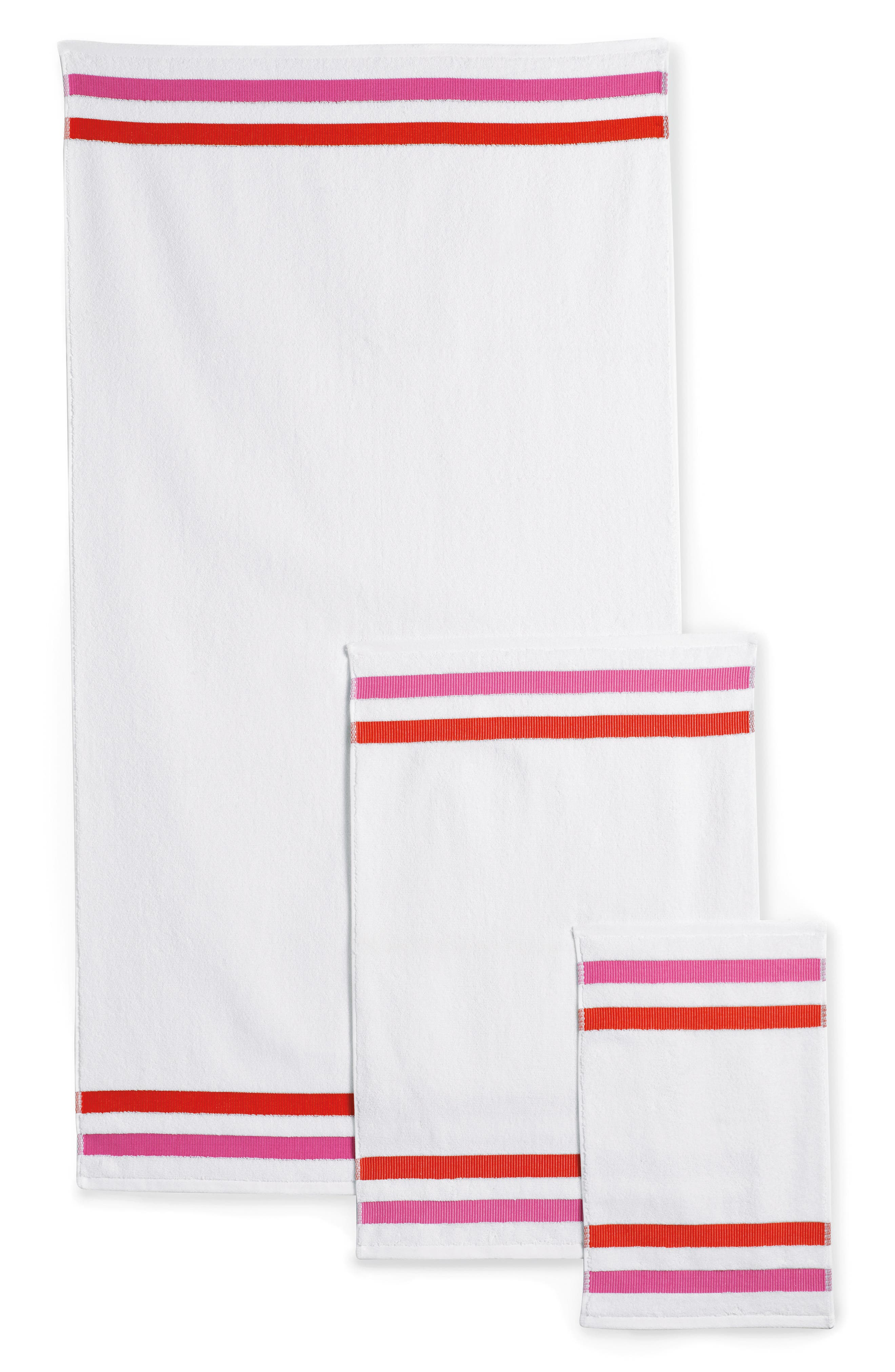 grosgrain stripe fingertip towel,                             Alternate thumbnail 3, color,                             100