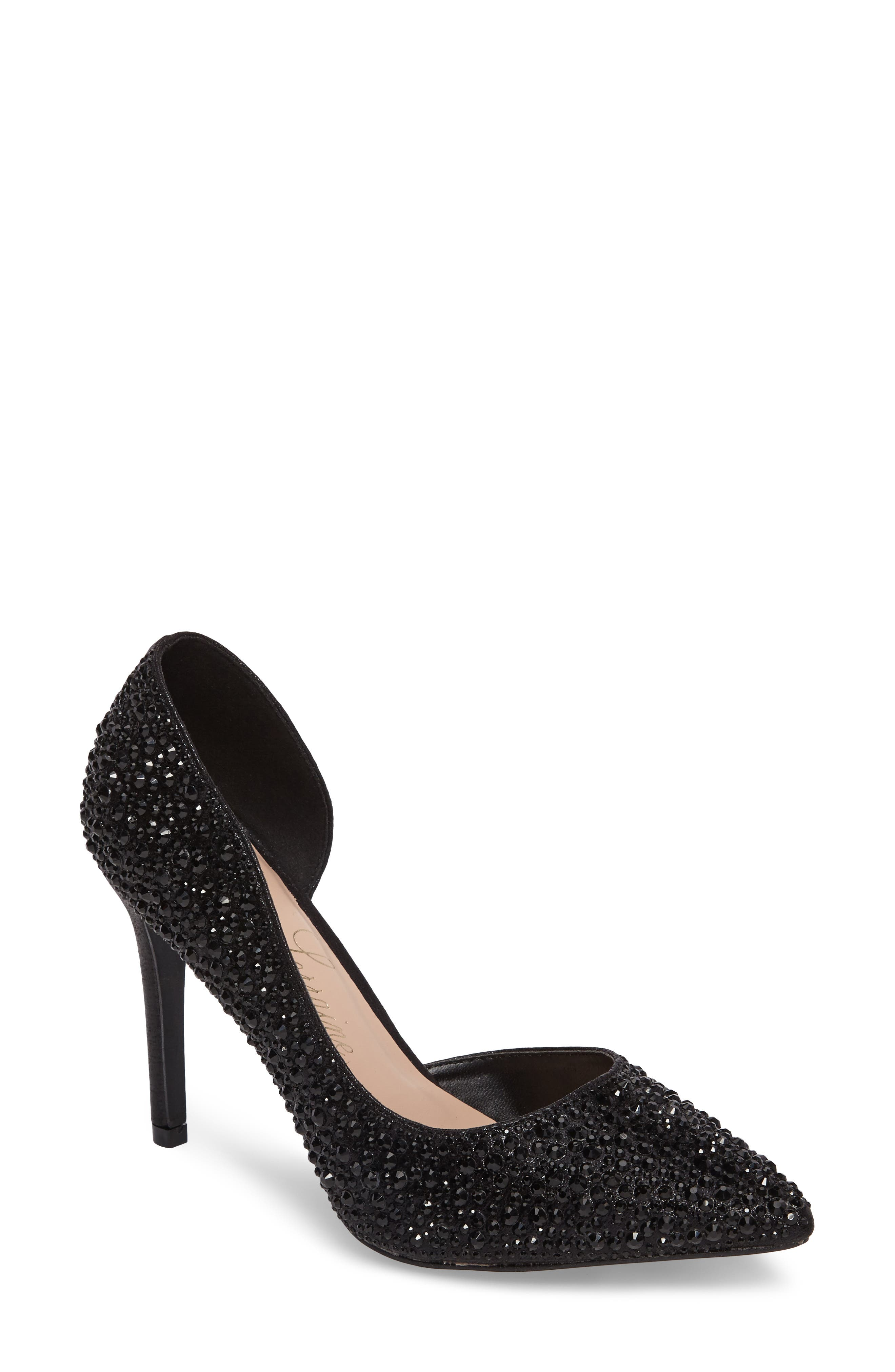 Ruby Embellished Half d'Orsay Pump,                             Main thumbnail 1, color,                             001