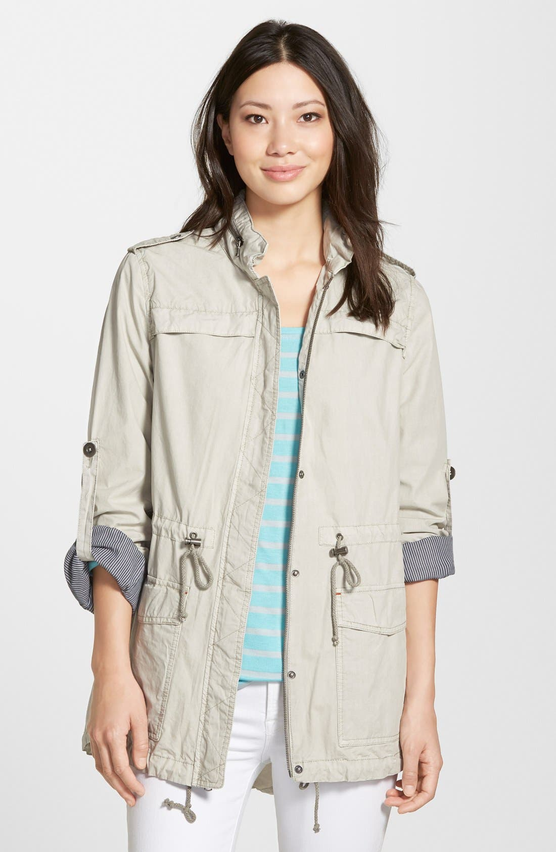 Lightweight Cotton Hooded Utility Jacket,                             Main thumbnail 4, color,