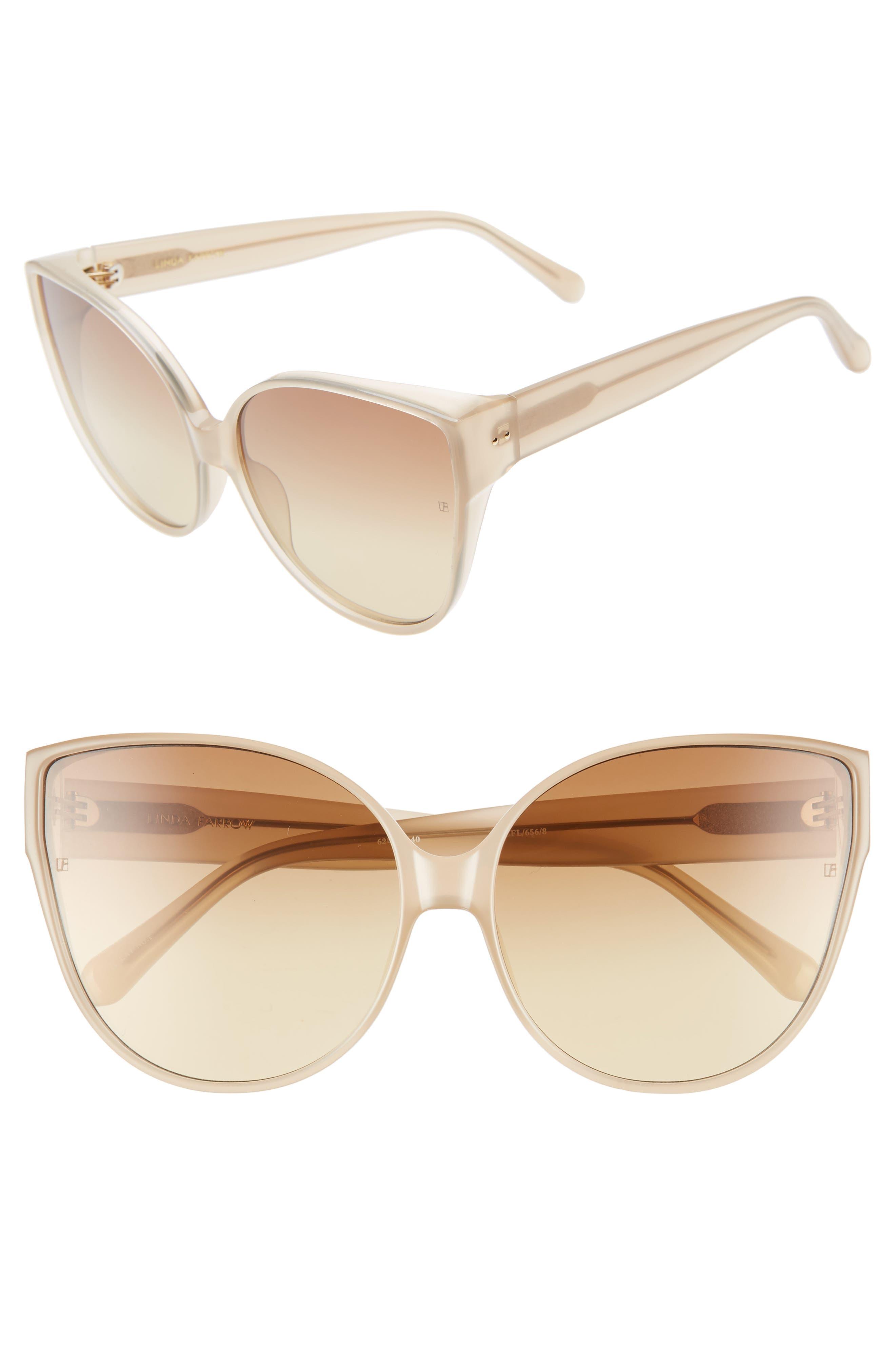 62mm Oversize Cat Eye Sunglasses,                             Main thumbnail 1, color,                             MILKY TOBACCO