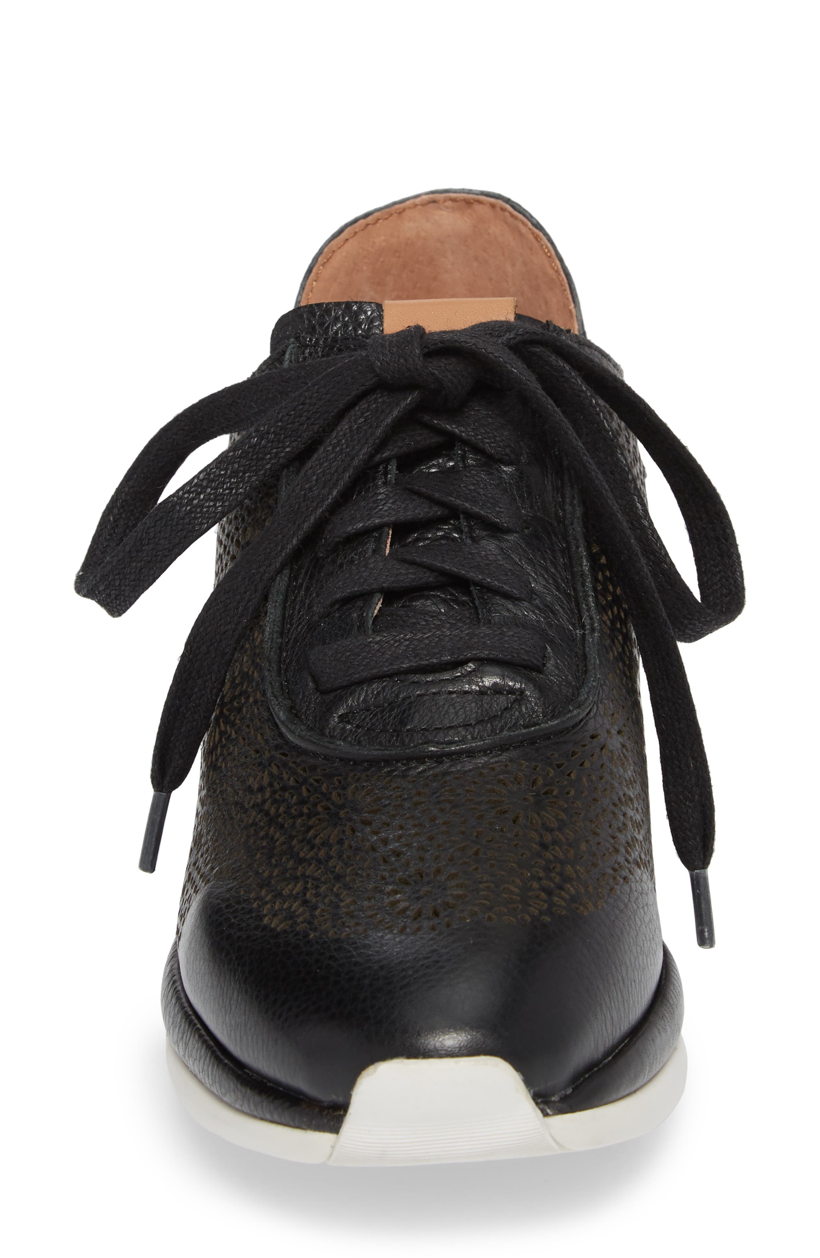 by Kenneth Cole Raina II Sneaker,                             Alternate thumbnail 4, color,                             BLACK LEATHER