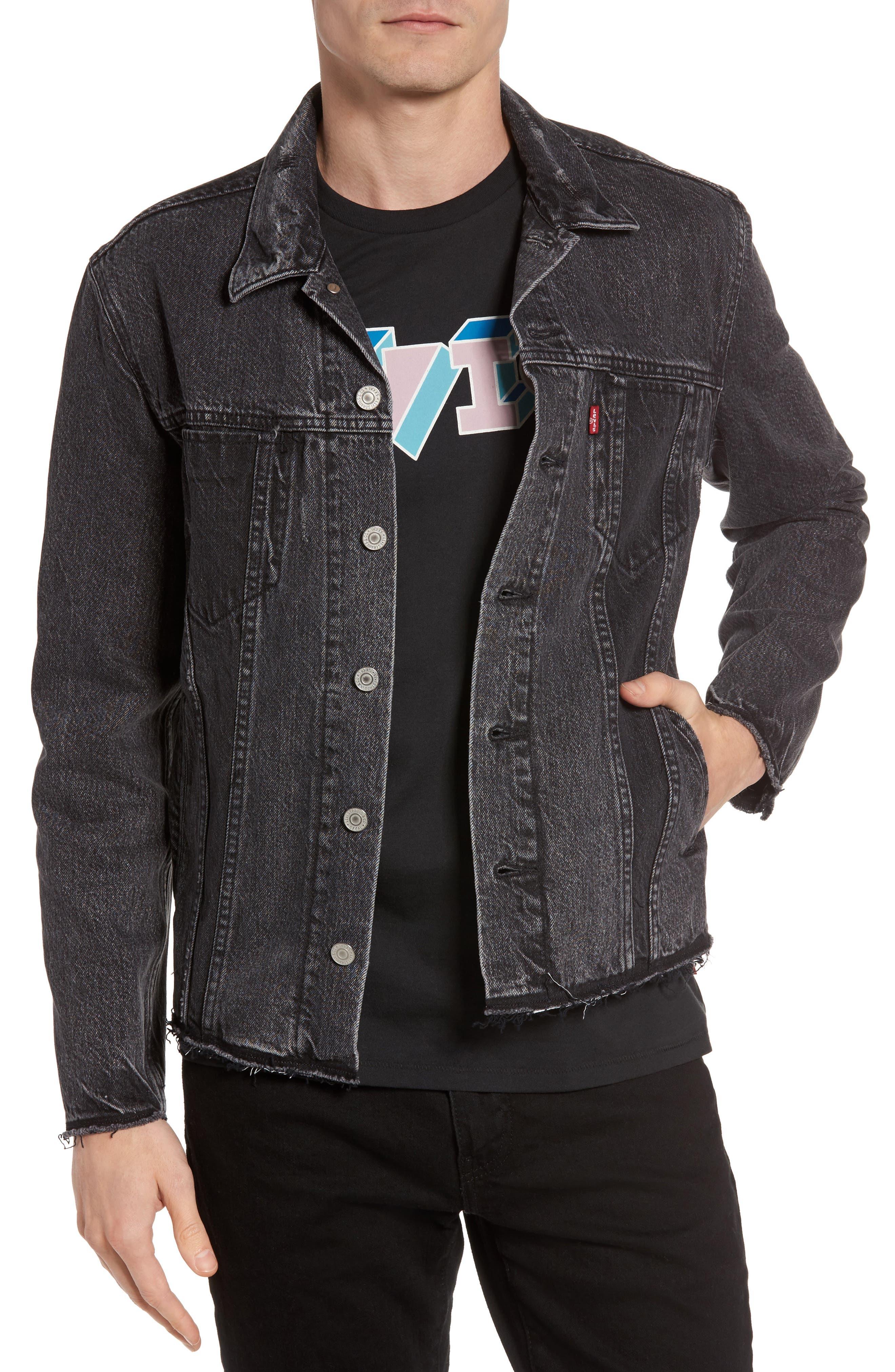 Altered Distressed Denim Trucker Jacket,                         Main,                         color, 001