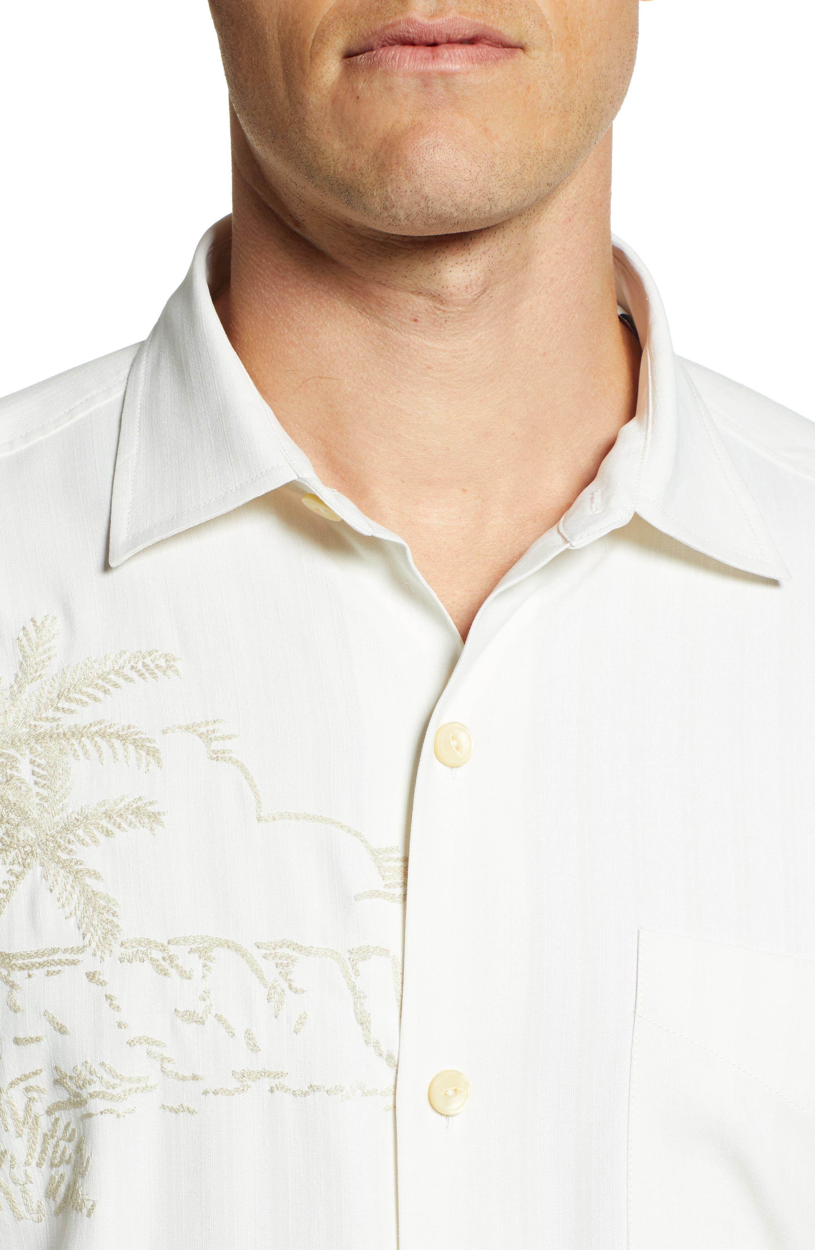 Las Playas Palms Silk Camp Shirt,                             Alternate thumbnail 4, color,                             TWILL