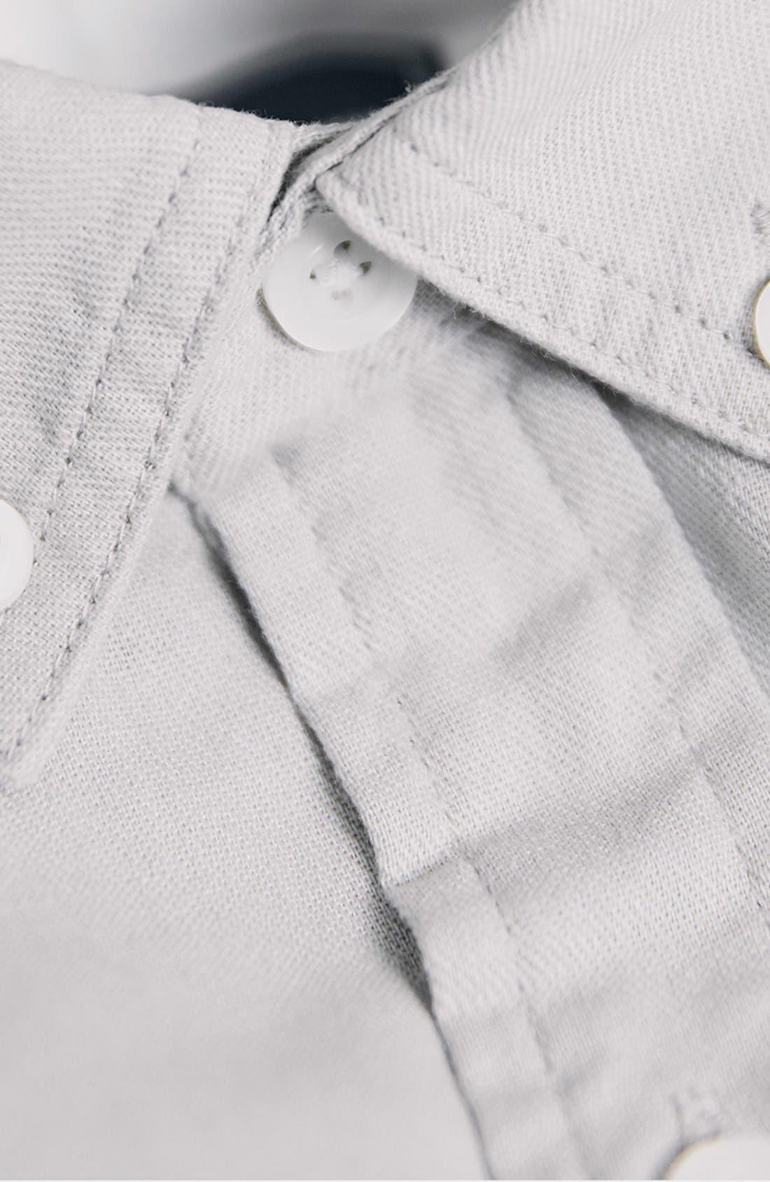 TOPMAN,                             Contrast Trim Short Sleeve Cotton Shirt,                             Alternate thumbnail 5, color,                             020