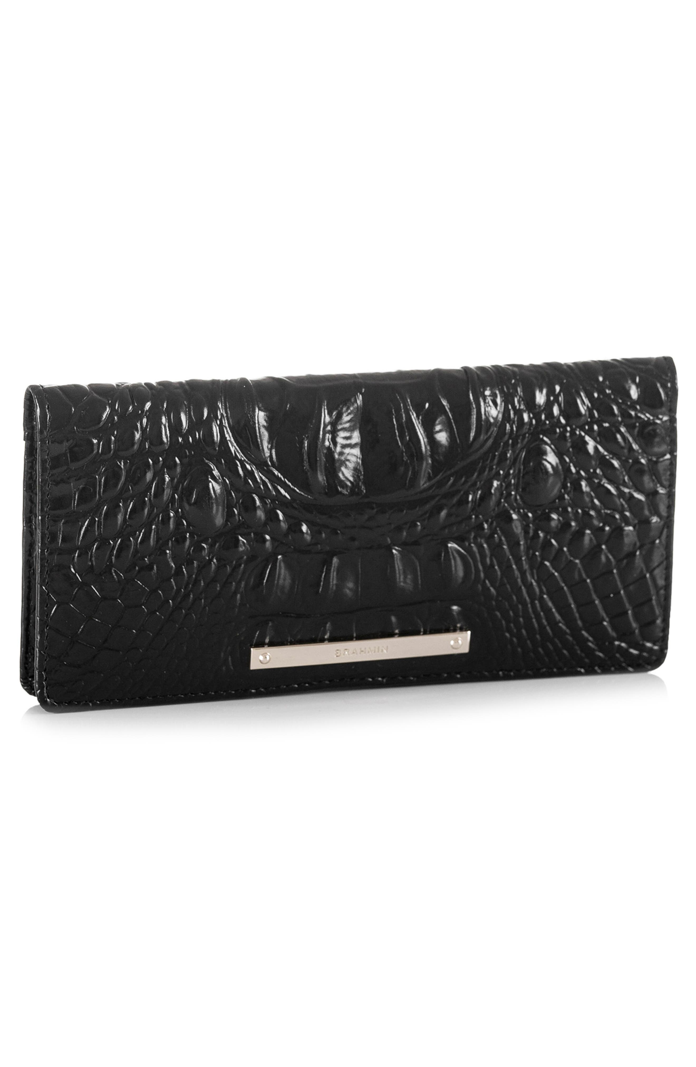 'Ady' Croc Embossed Continental Wallet,                             Alternate thumbnail 4, color,                             BLACK