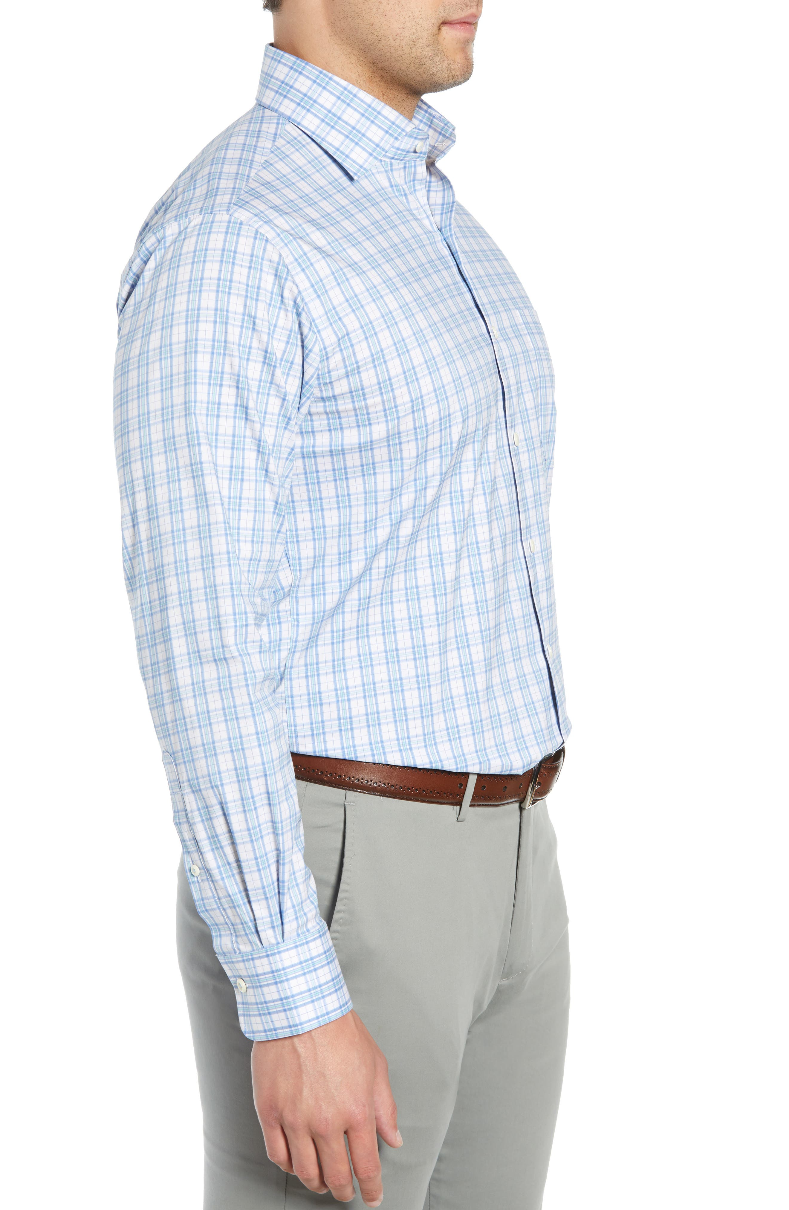 Portofino Tartan Performance Sport Shirt,                             Alternate thumbnail 4, color,                             VESSEL