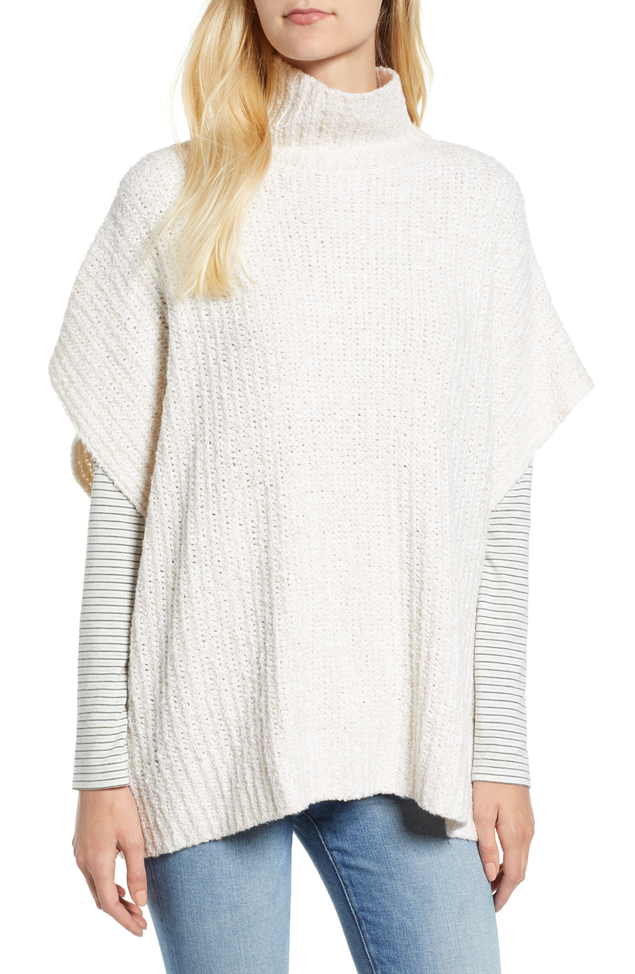 Ribbed Poncho Sweater,                         Main,                         color, IVORY