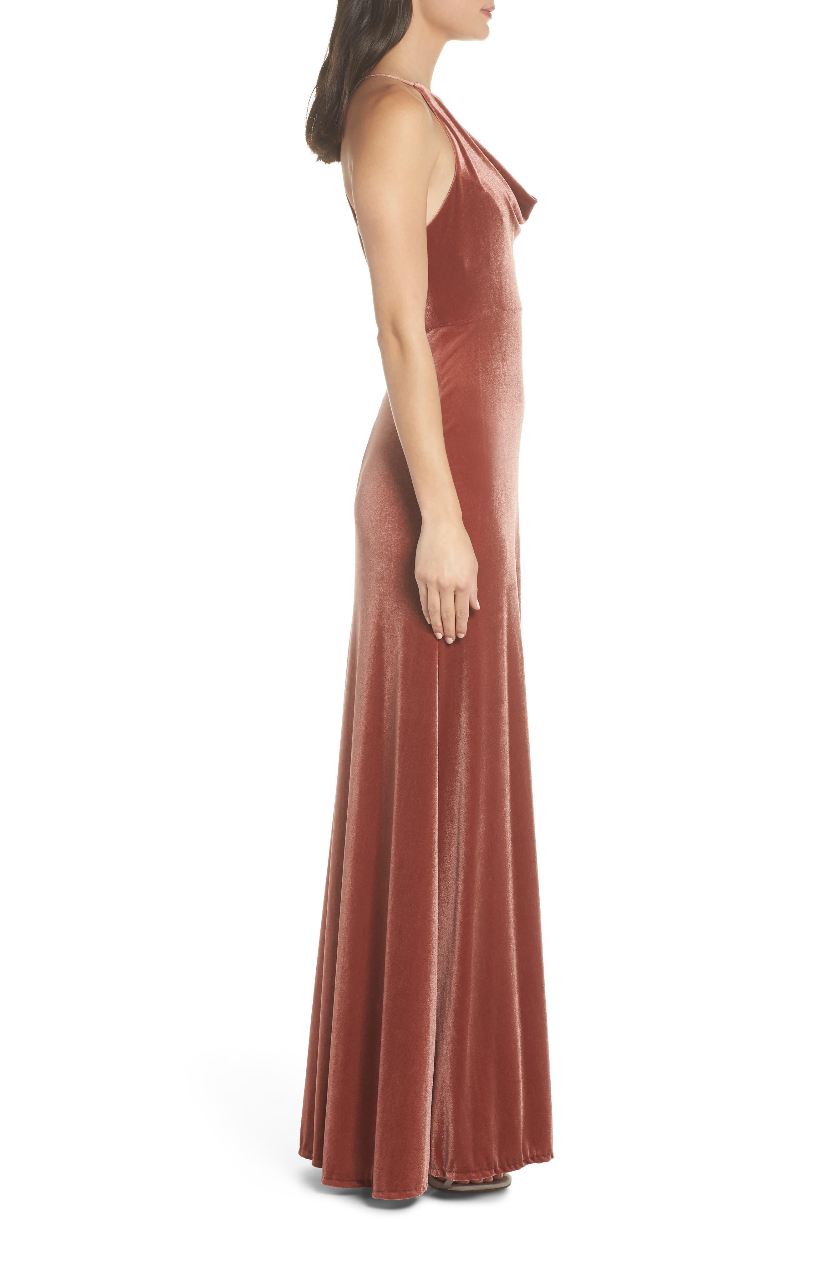 Sullivan Velvet Cowl Neck Gown,                             Alternate thumbnail 3, color,                             ENGLISH ROSE