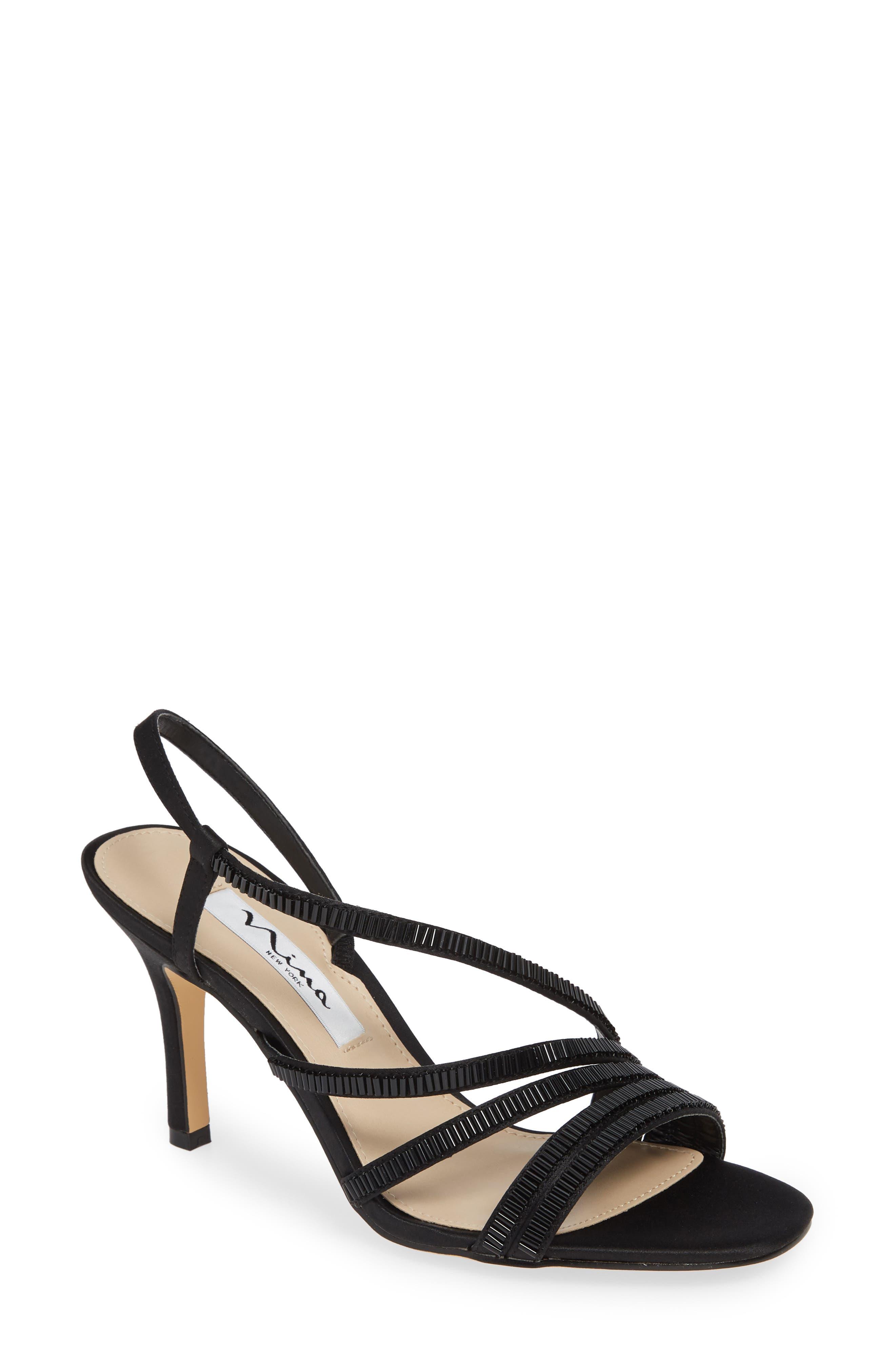 Nina Amani Asymmetrical Strappy Slingback Sandal- Black