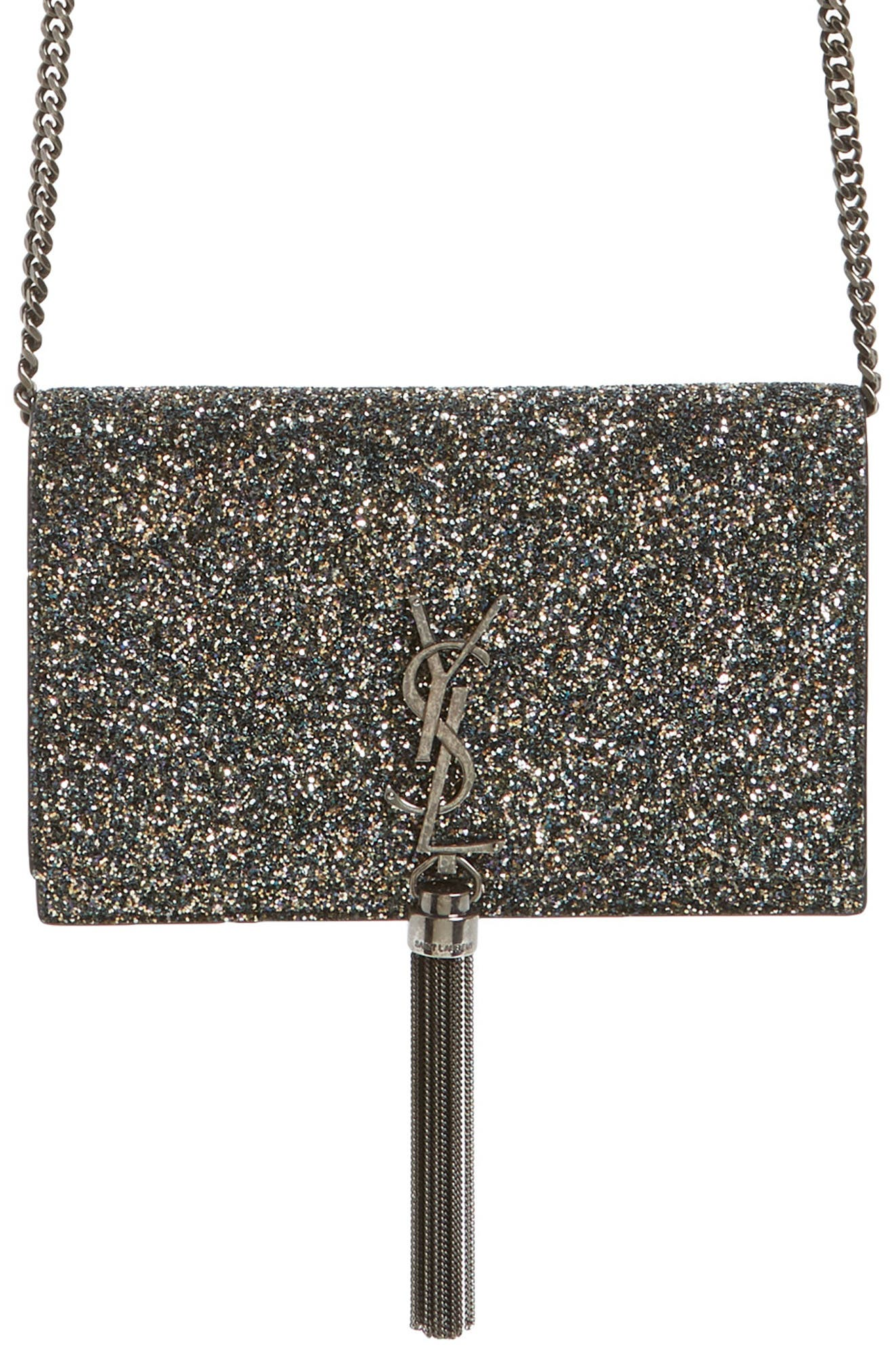 Kate Glitter Wallet on a Chain,                             Main thumbnail 1, color,                             OLIVE/ NERO