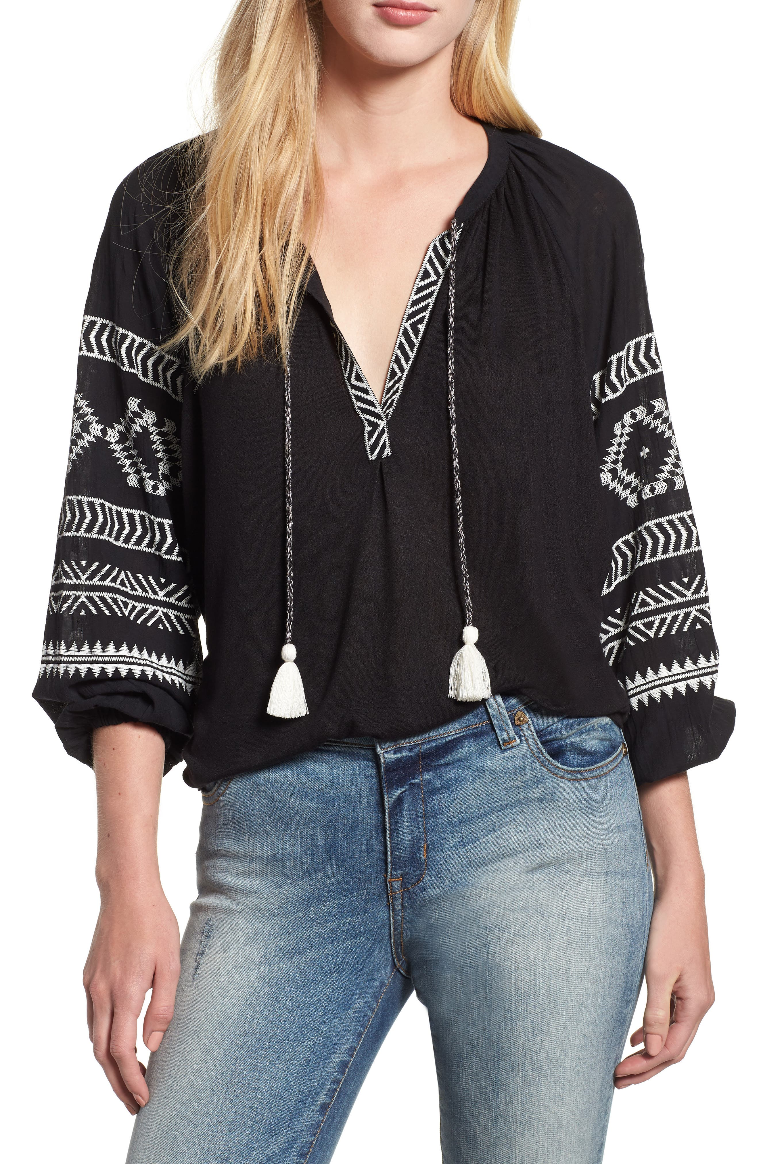 Embroidered Peasant Blouse,                             Main thumbnail 1, color,                             BLACK W/ CREAM