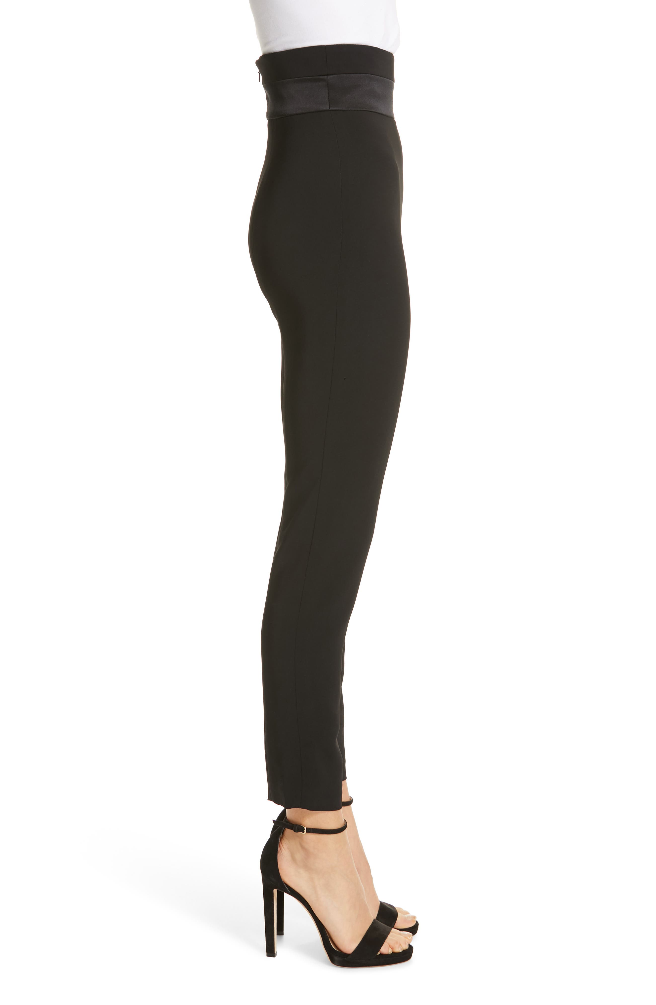 CUSHNIE,                             High Waist Crop Slim Pants,                             Alternate thumbnail 3, color,                             BLACK
