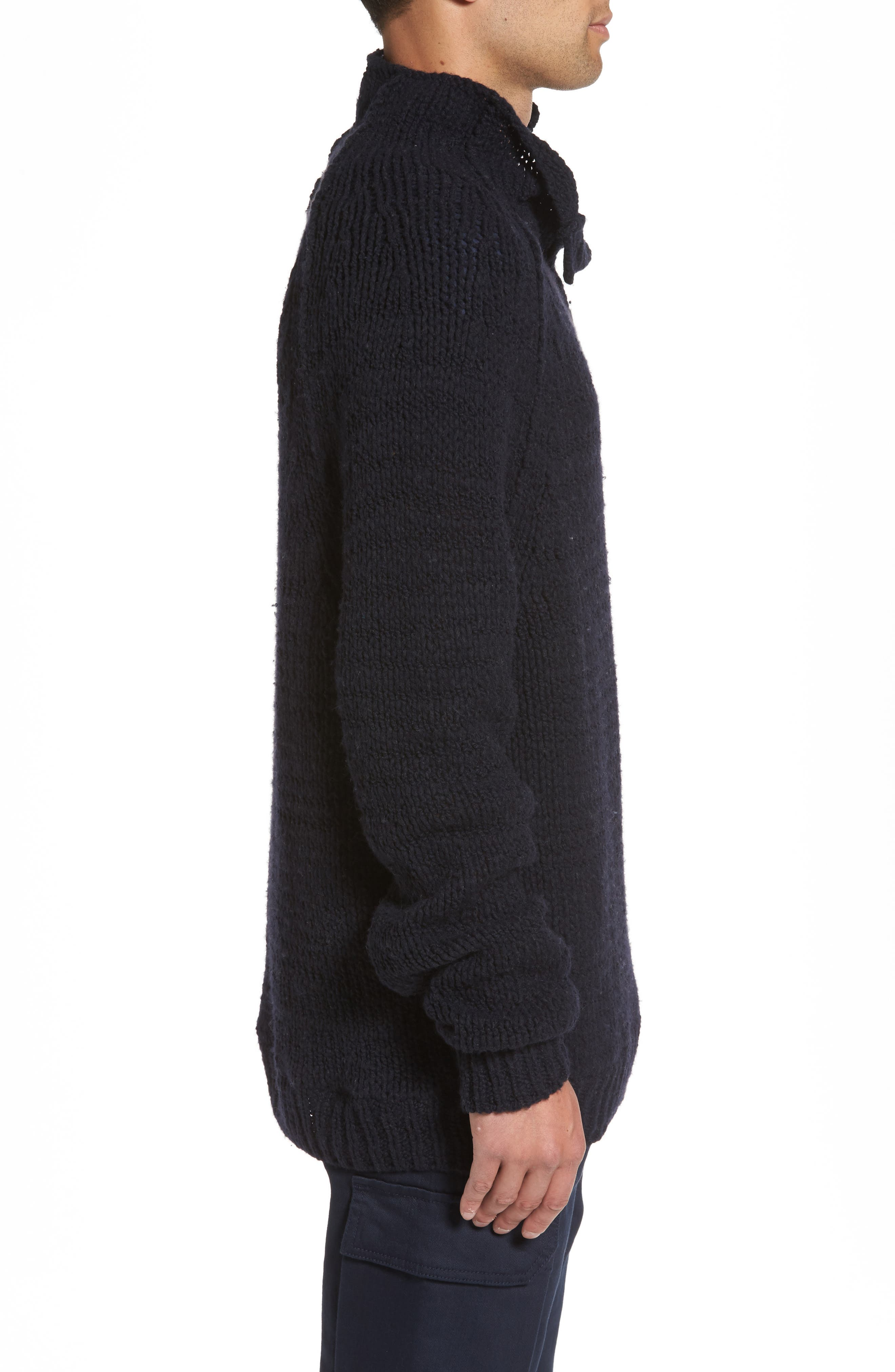 Side Button Mock Neck Sweater,                             Alternate thumbnail 3, color,                             403