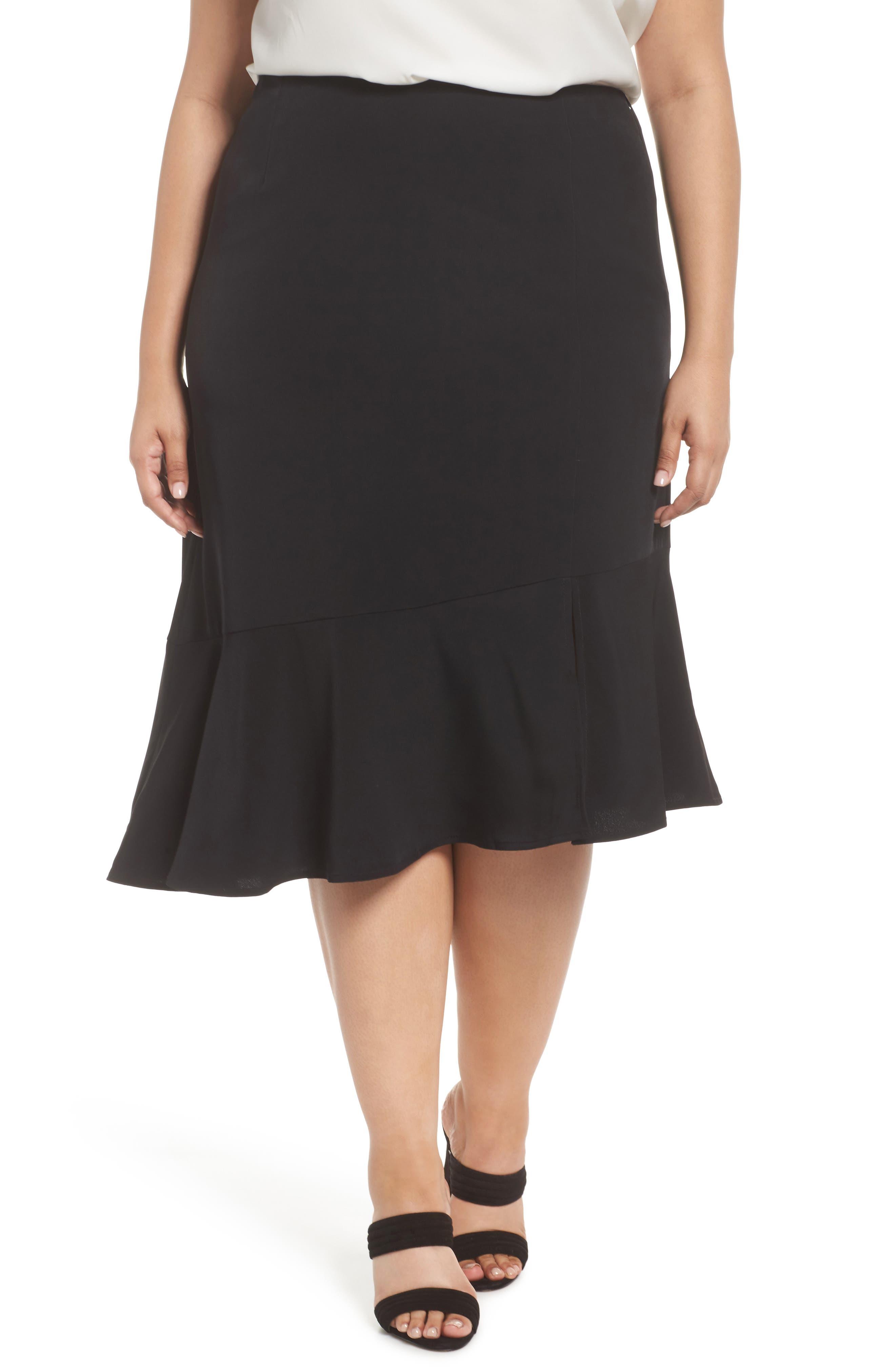 Plus Size Sejour Slit Hem Skirt, Black