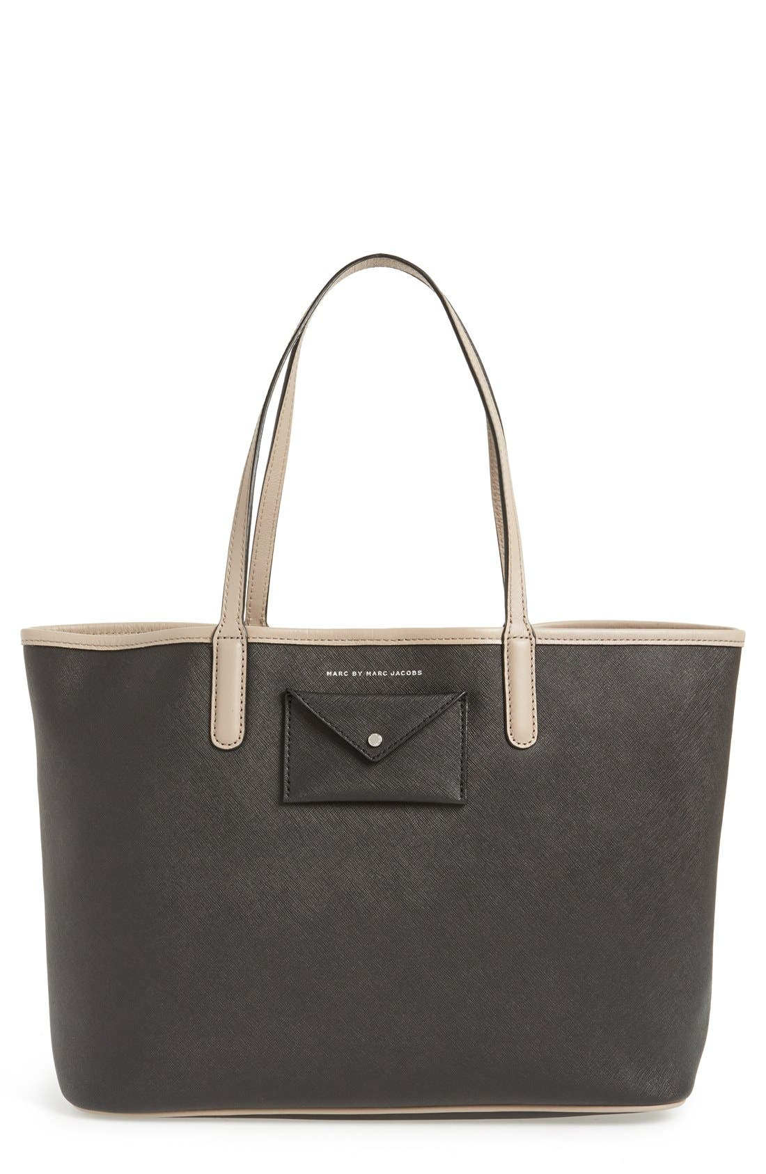 MARC BY MARC JACOBS 'Metropolitote 48' Leather Tote, Main, color, 001