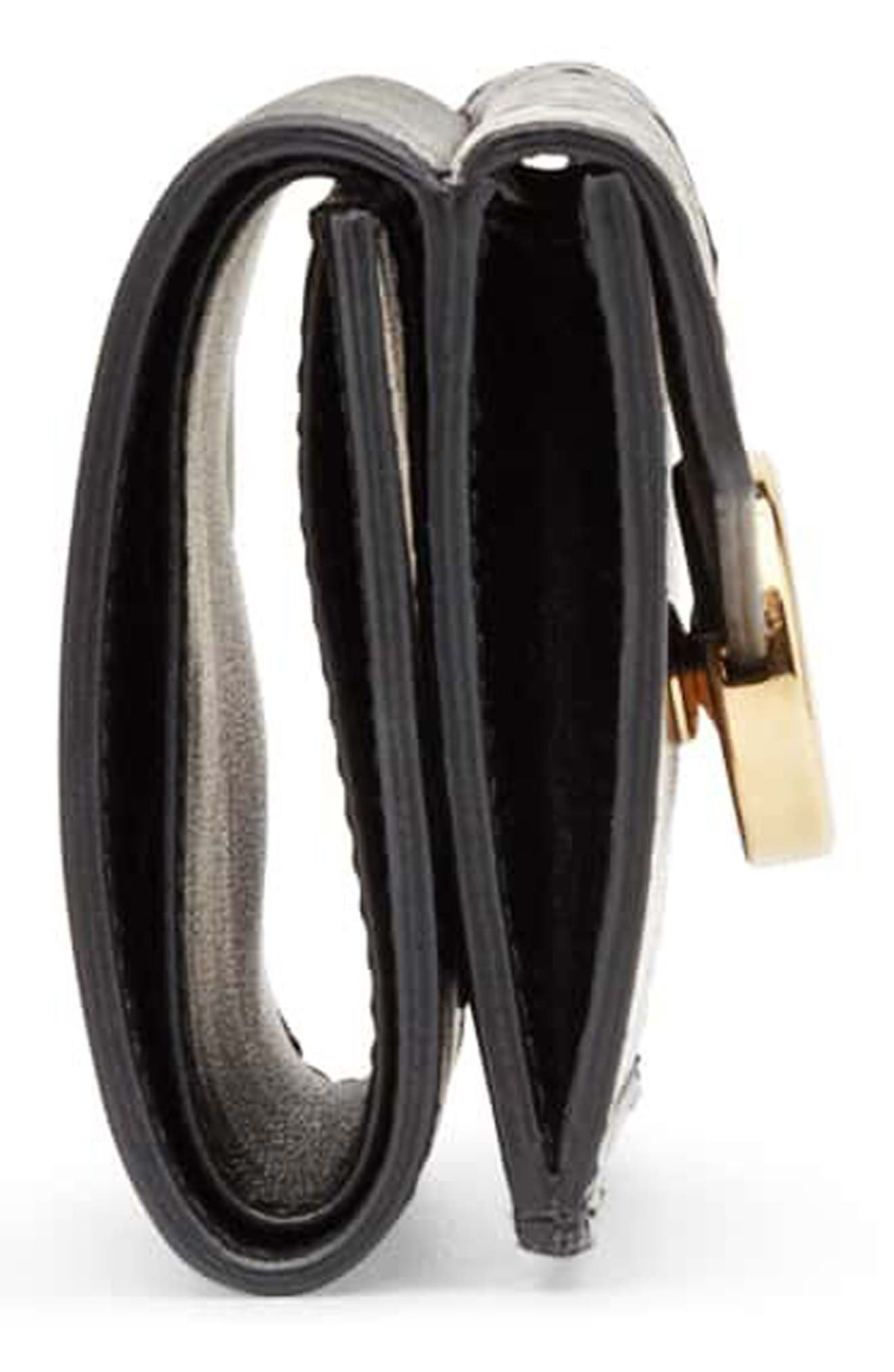 Kan I Leather & Genuine Snakeskin Trifold Wallet,                             Alternate thumbnail 4, color,                             NERO/ NATURAL/ ORO SOFT