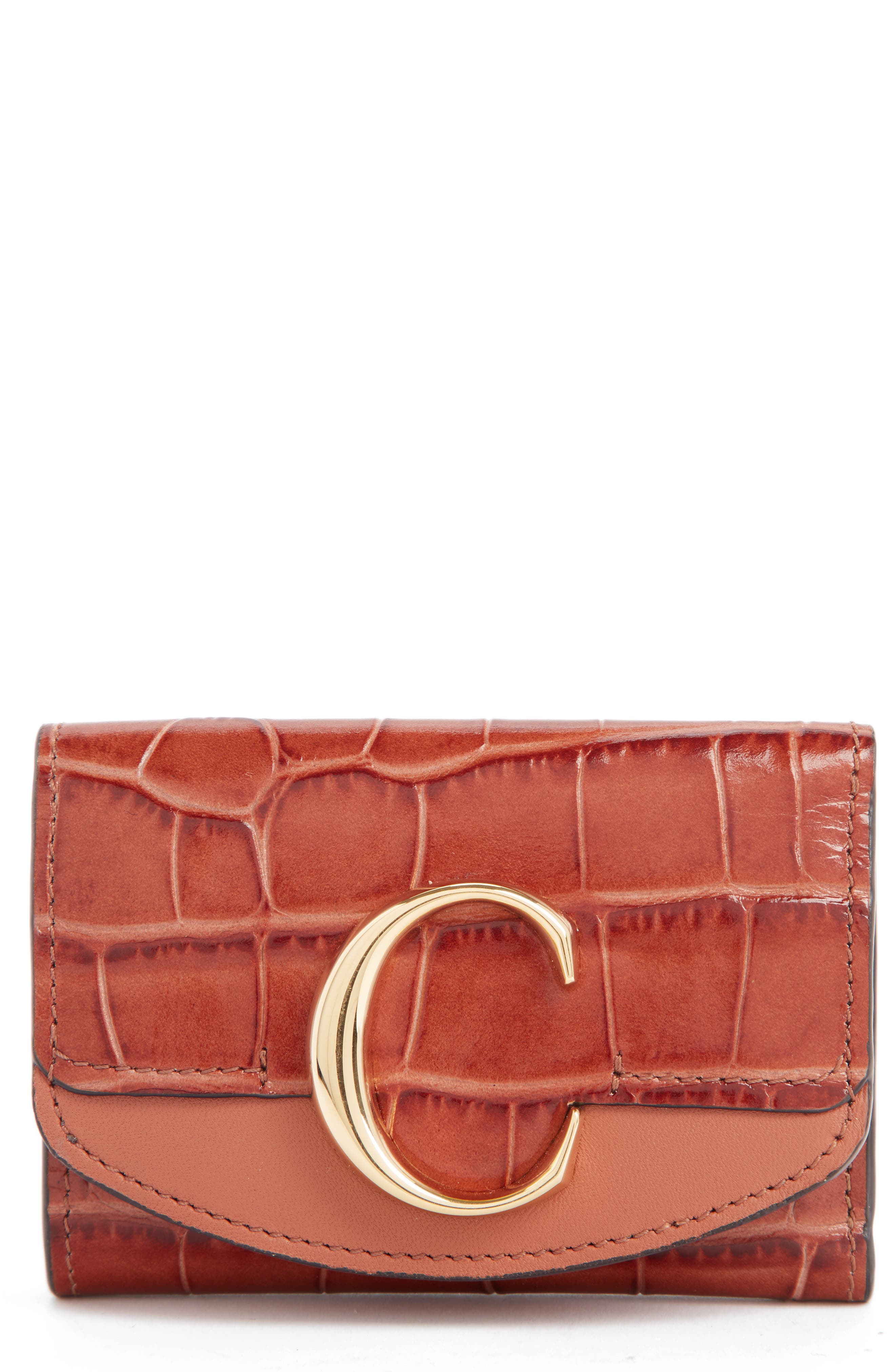 CHLOÉ Mini-C Croc Embossed Leather Wallet, Main, color, CHESTNUT BROWN