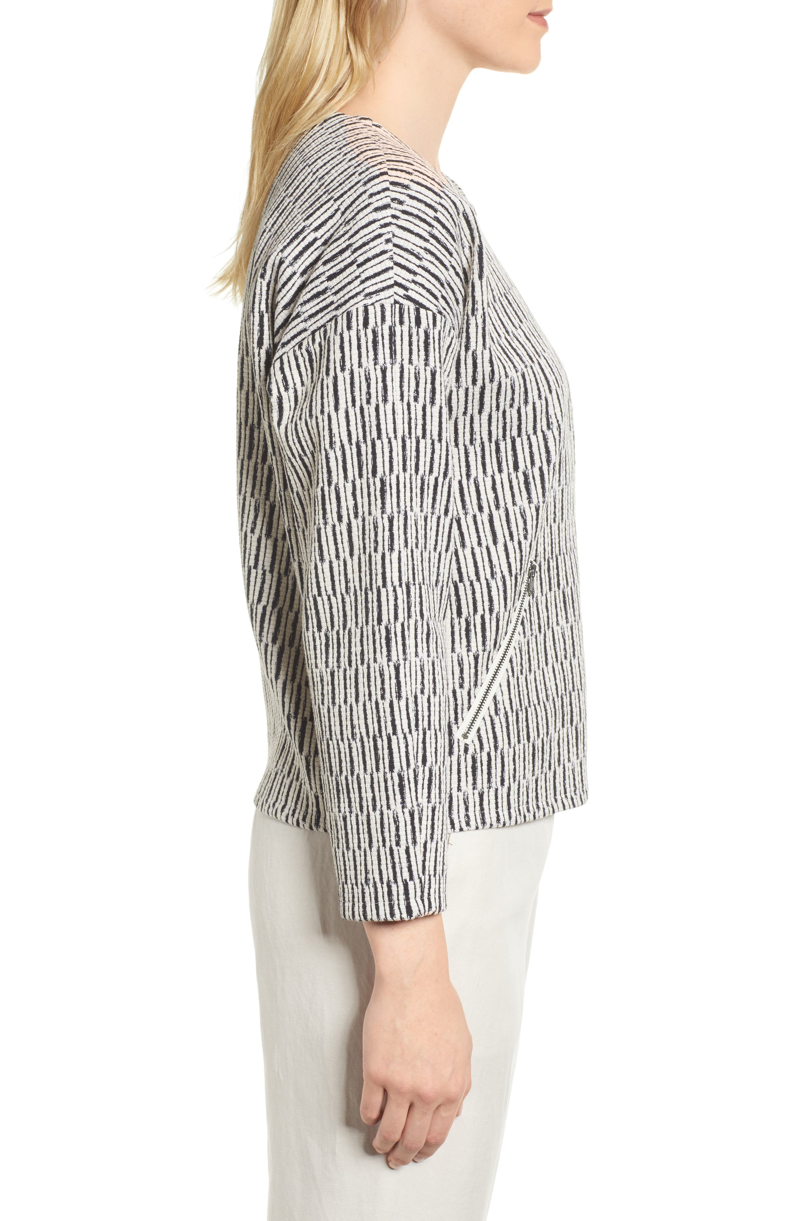 Tweed Jacket,                             Alternate thumbnail 3, color,                             BLACK/ WHITE