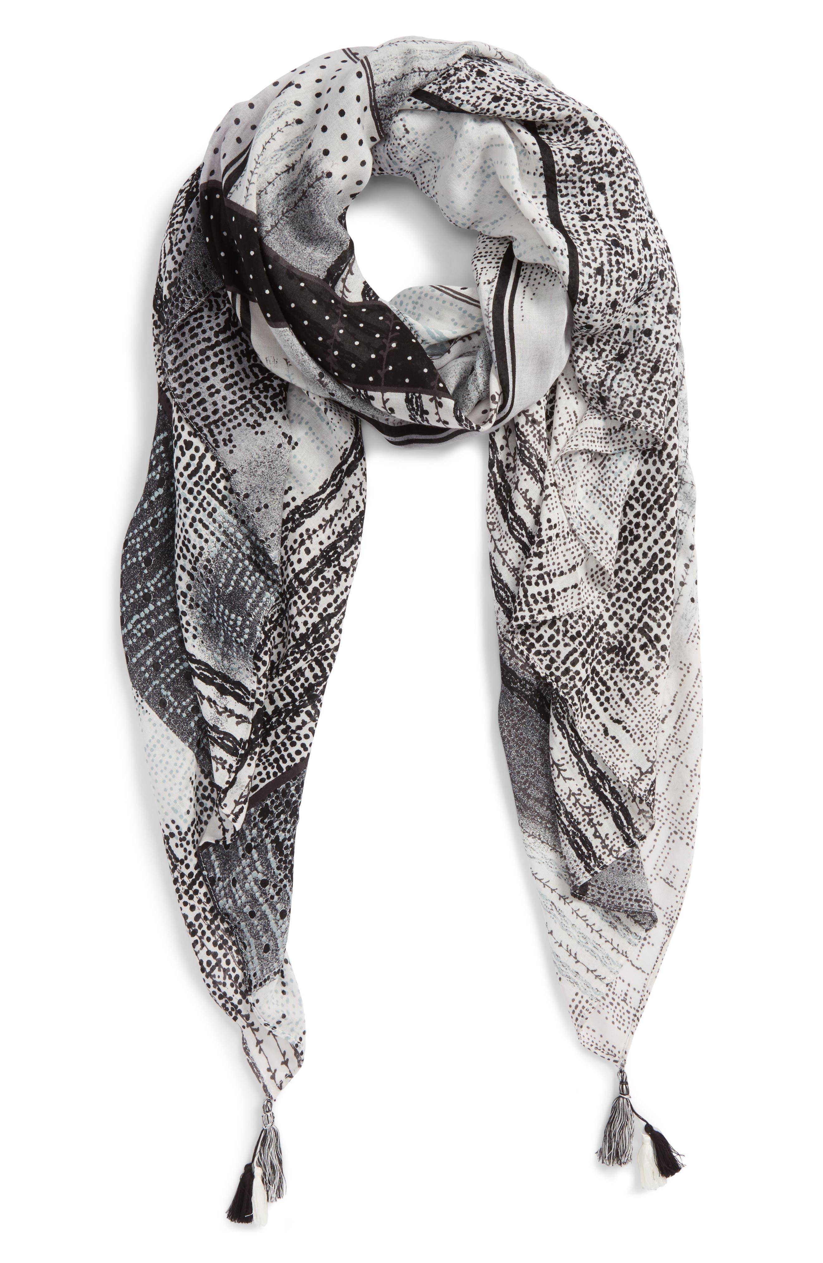 Print Tassel Wrap,                         Main,                         color, 001