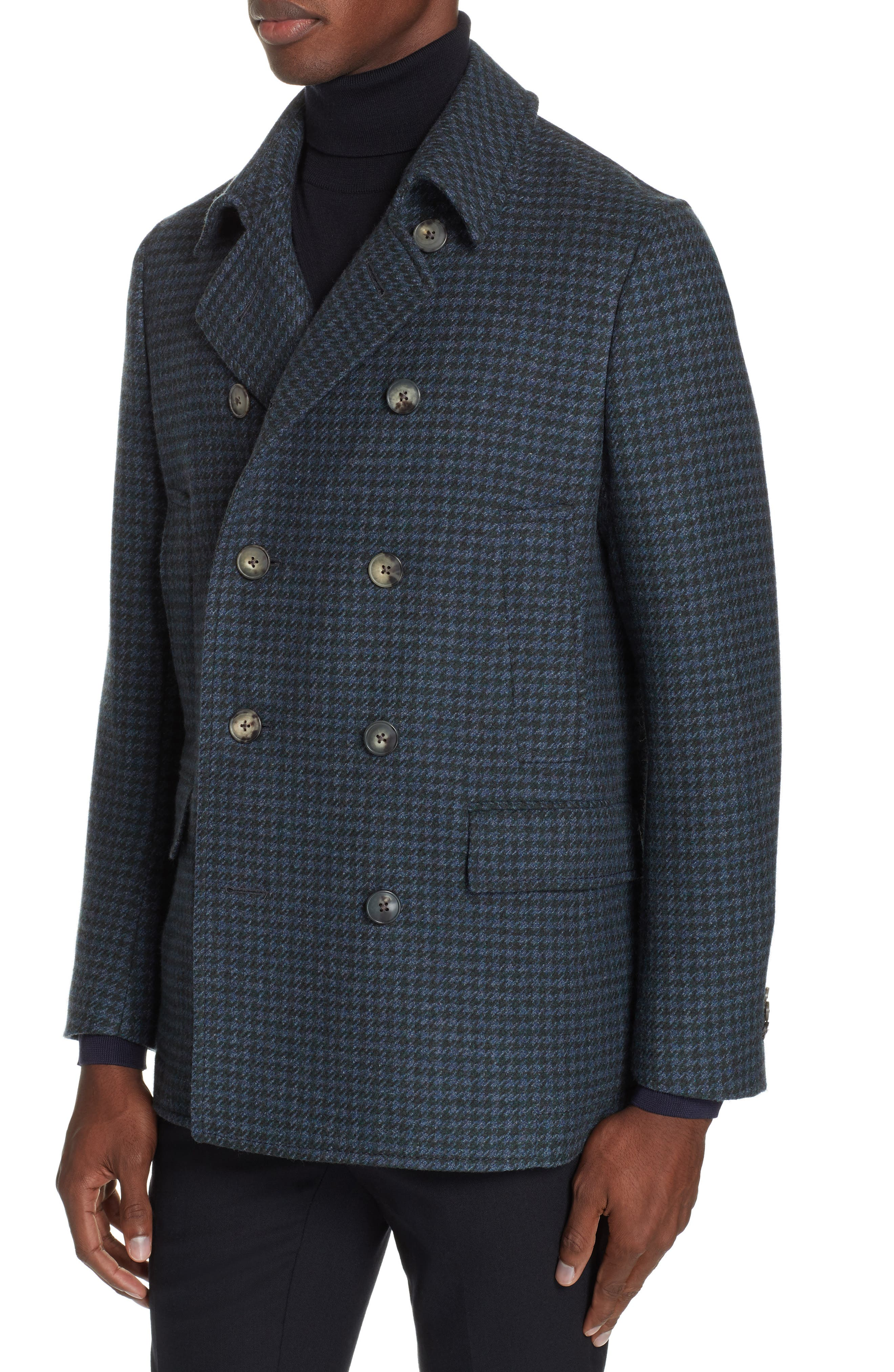 Trim Fit Double Breasted Houndstooth Wool Coat,                             Alternate thumbnail 4, color,                             GREEN/ BLUE