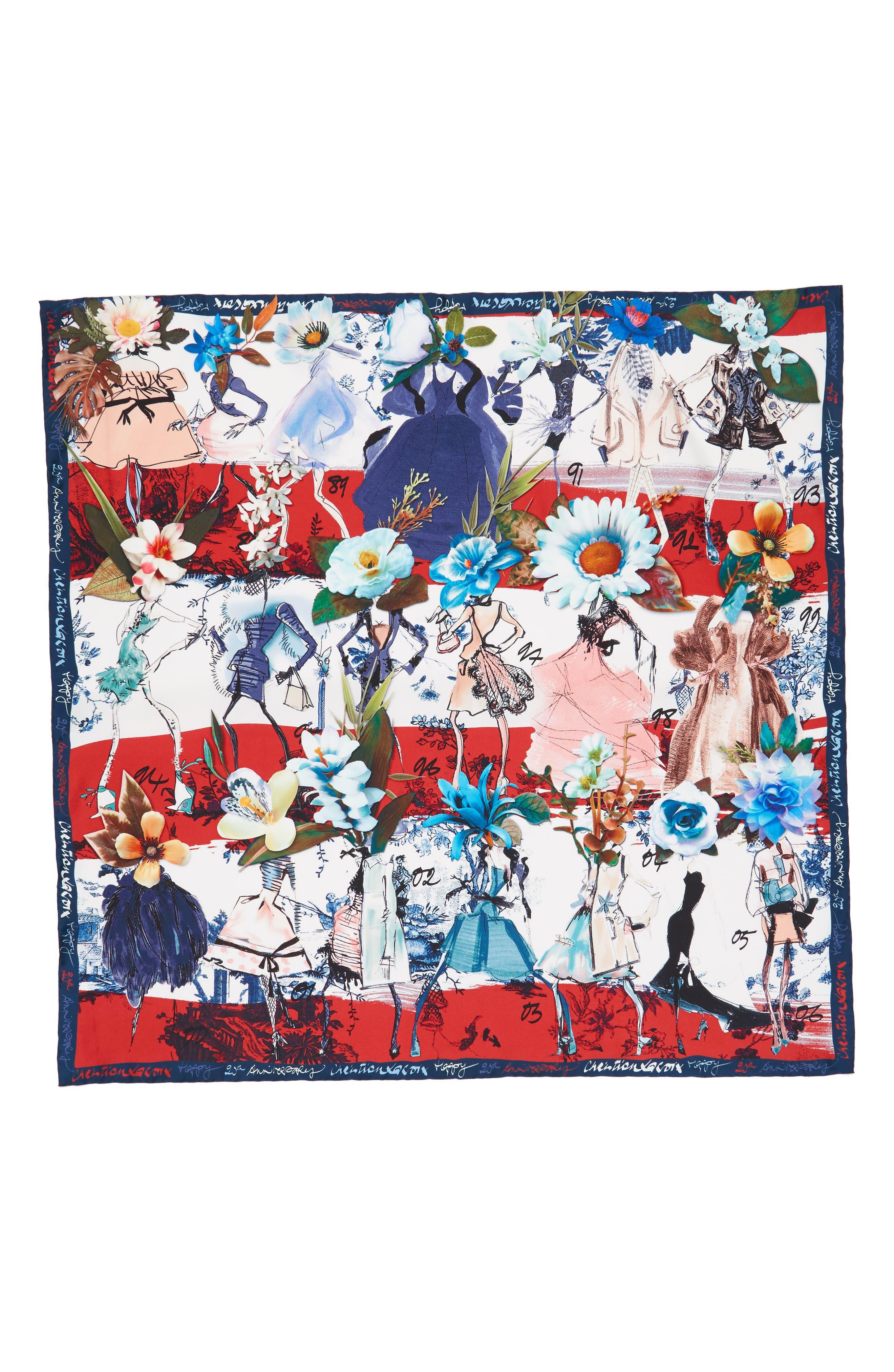 Les Filles en Fleur Square Silk Scarf,                             Alternate thumbnail 8, color,