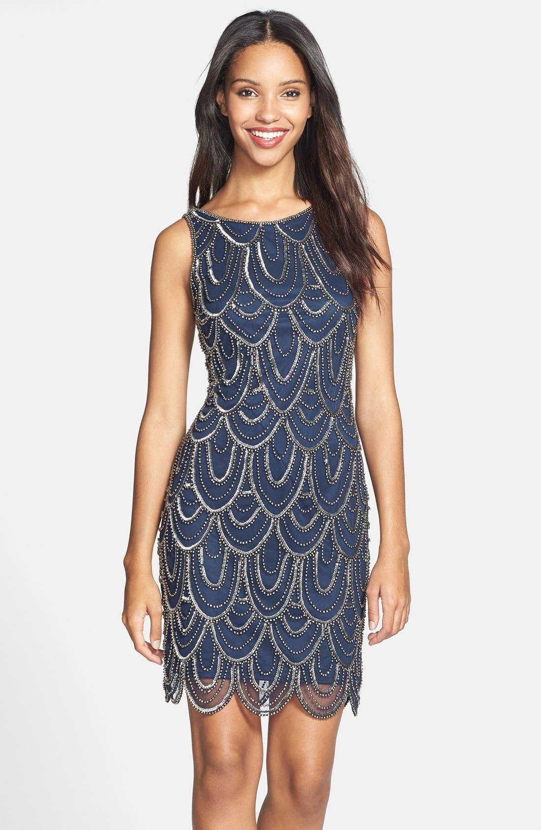 Embellished Mesh Sheath Dress,                             Main thumbnail 2, color,