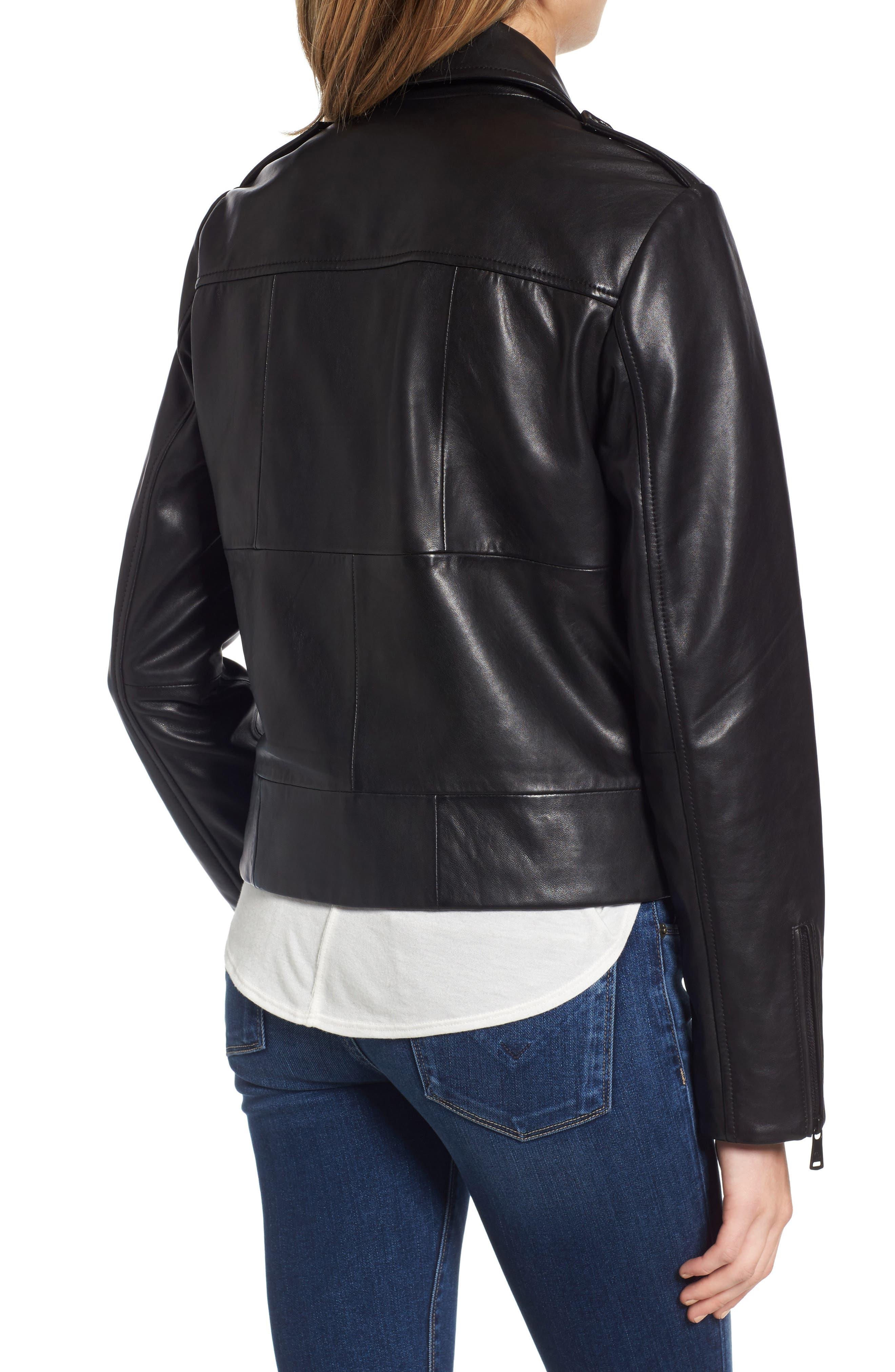 Belted Leather Moto Jacket,                             Alternate thumbnail 2, color,
