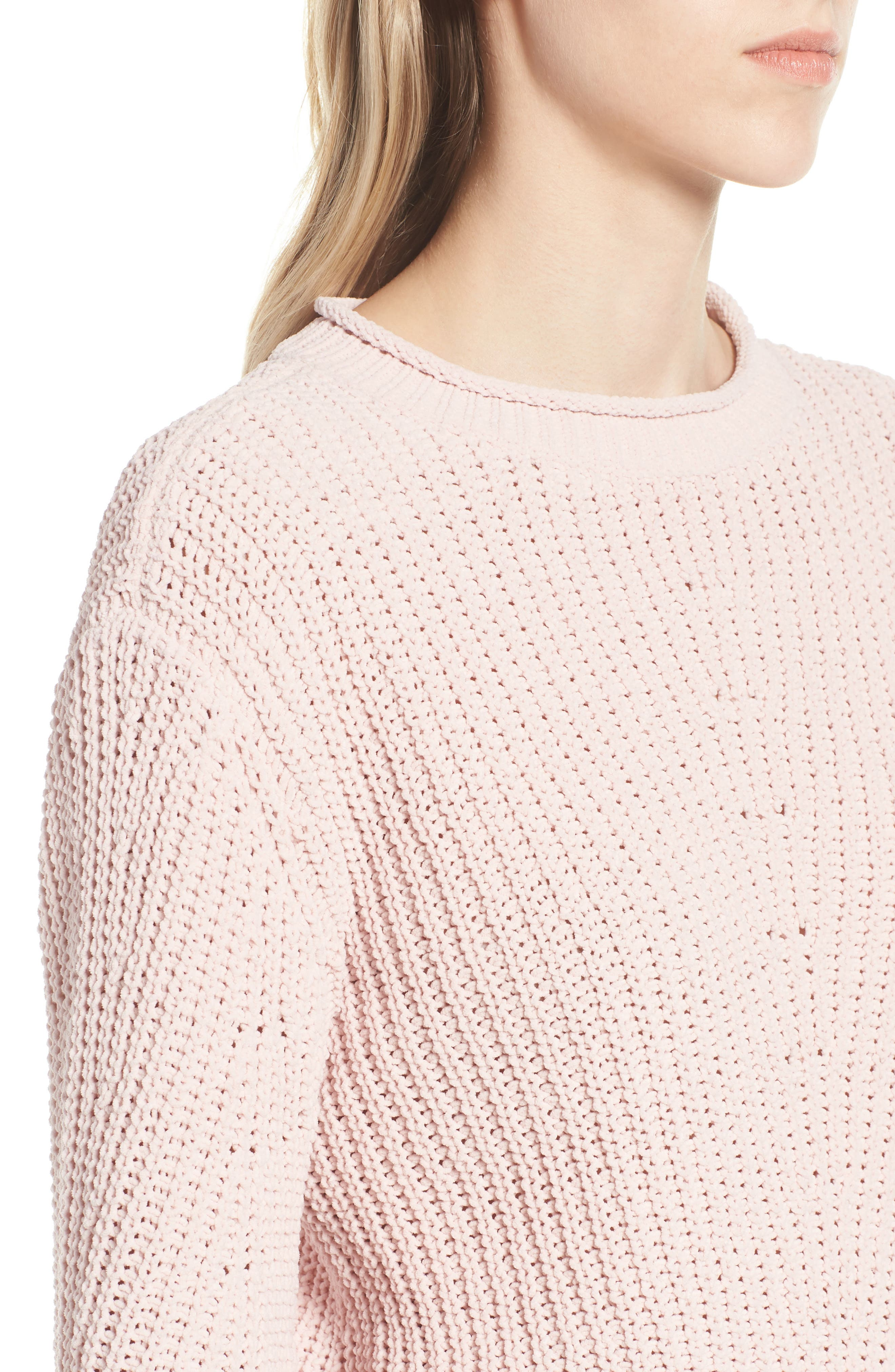 Chenille Crewneck Sweater,                             Alternate thumbnail 4, color,                             PINK SEPIA